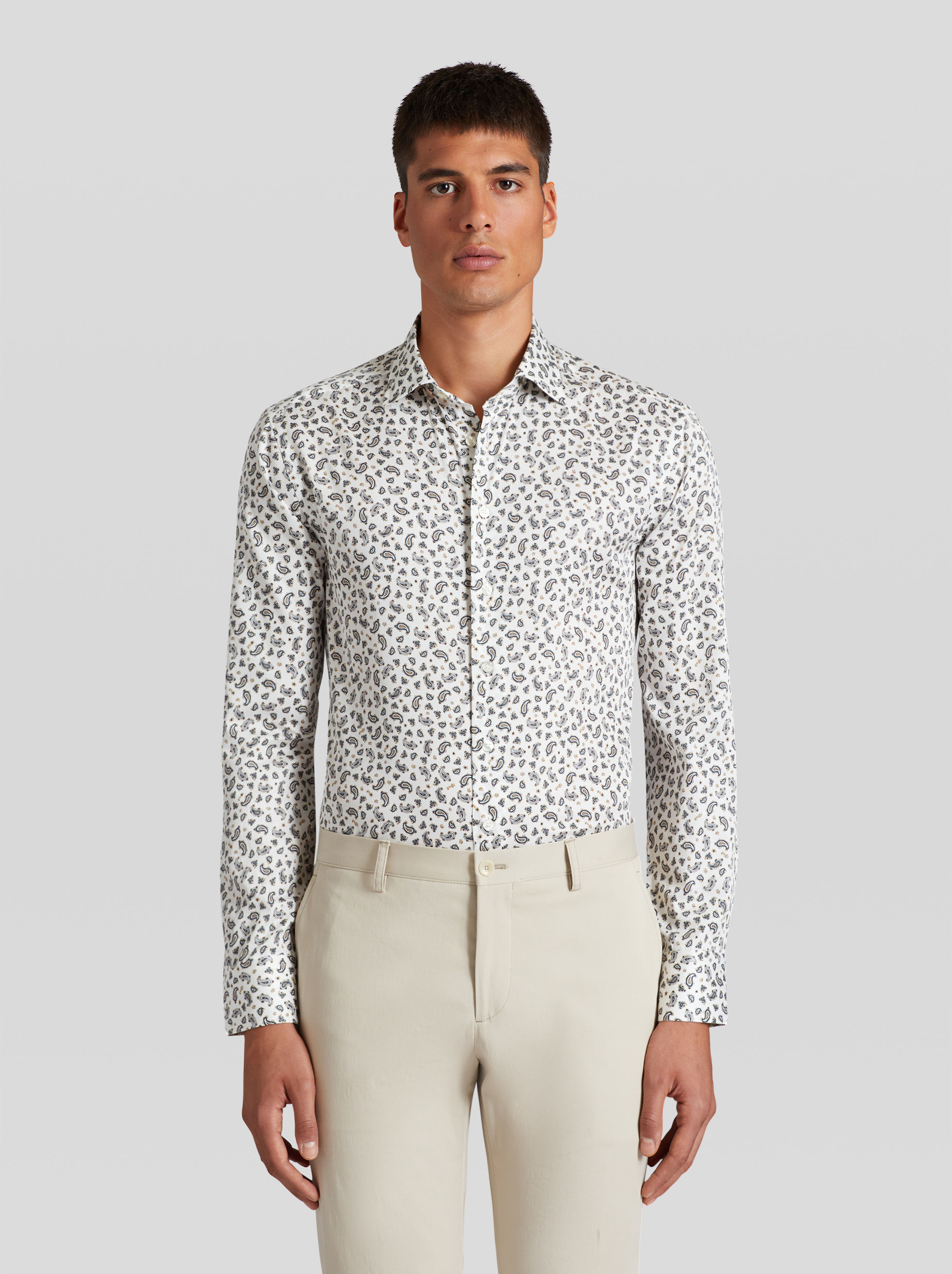MICRO PAISLEY PRINT COTTON SHIRT