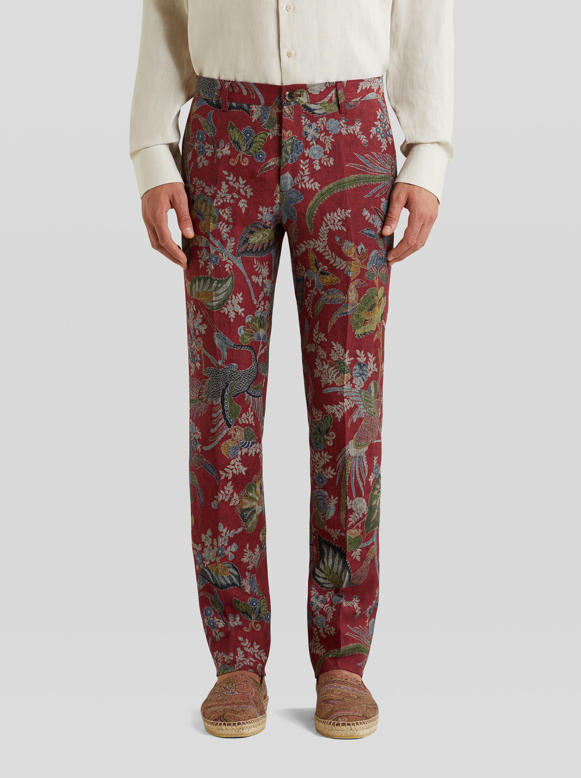 LEAFY PRINT LINEN TROUSERS