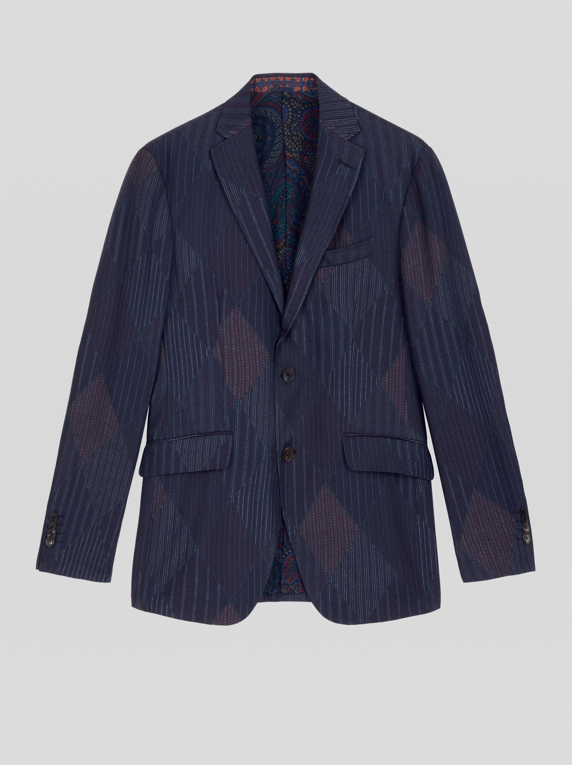 TAILORED STRIPED PATCHWORK JACKET