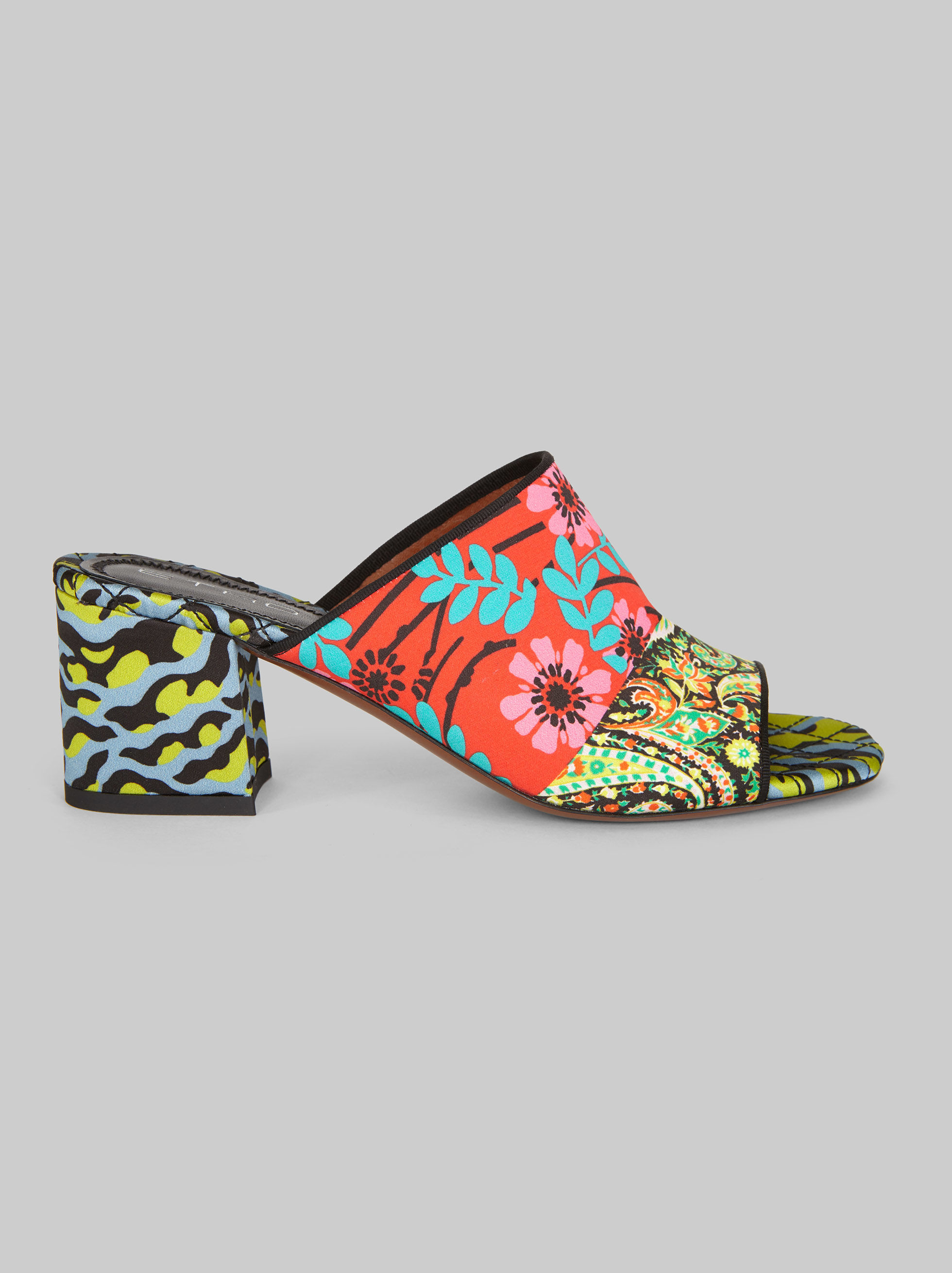 PATCHWORK-PRINT SATIN SANDALS