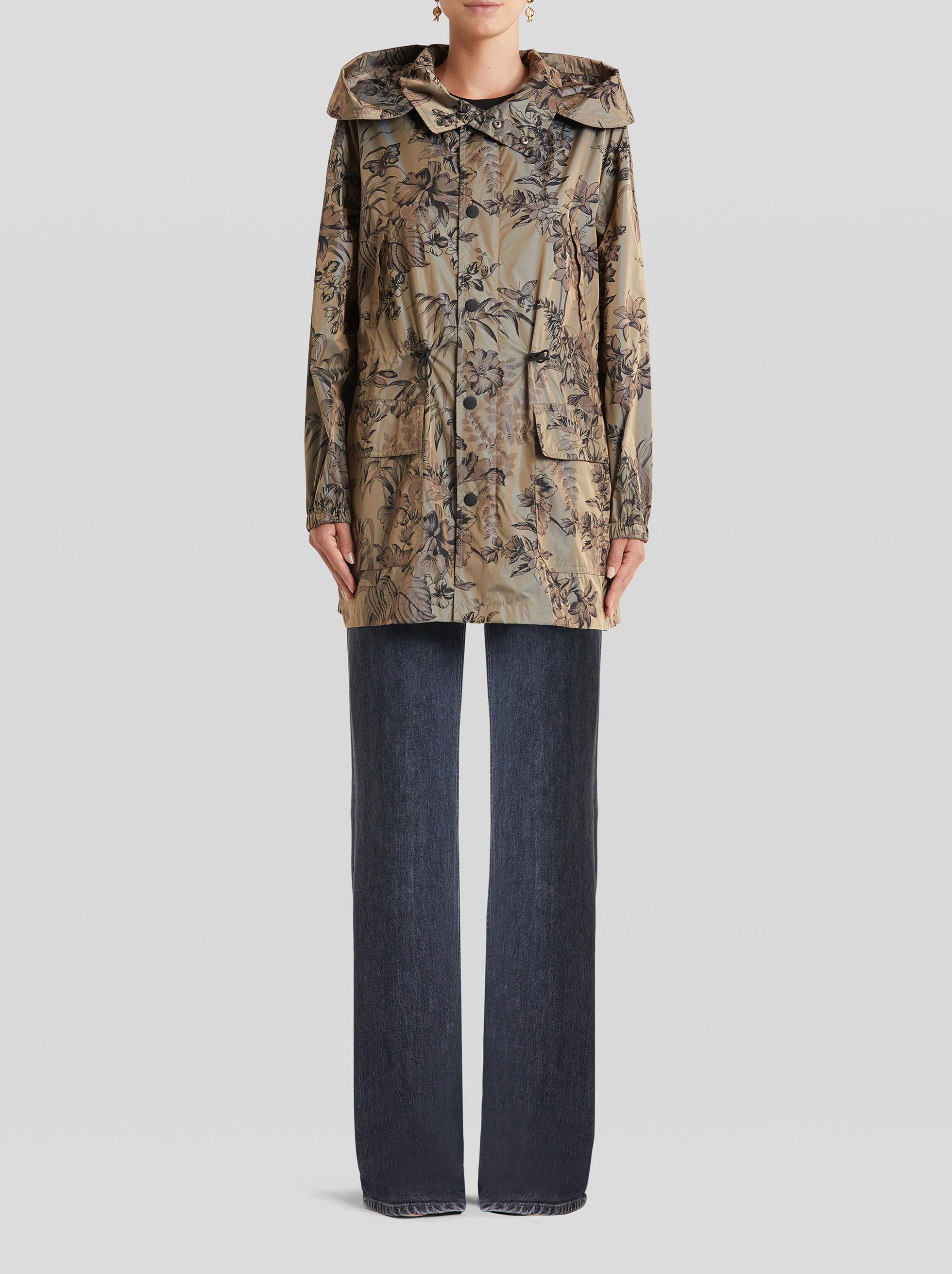 JACKET WITH LEAFY FLORAL DESIGNS