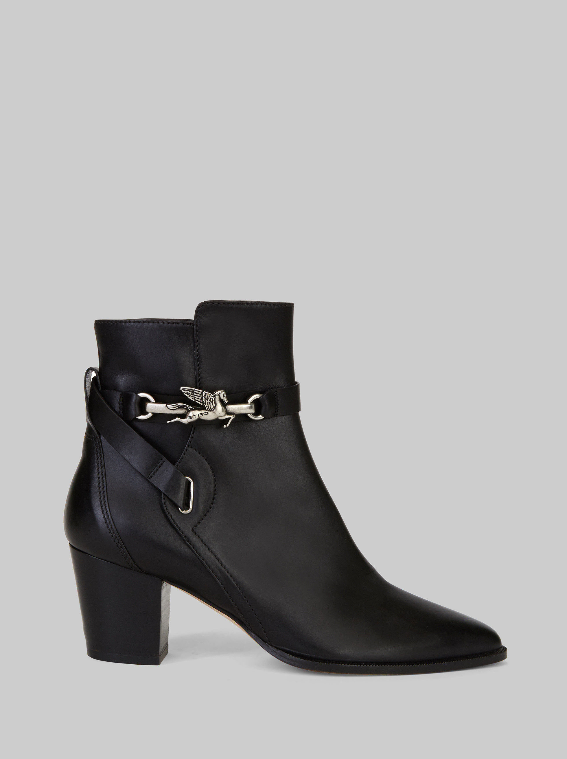 LEATHER ANKLE BOOTS WITH PEGASO