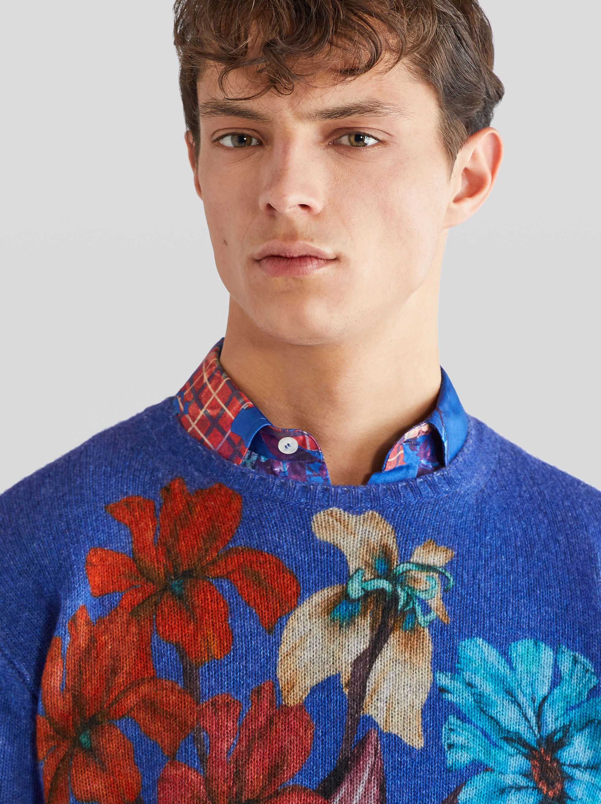 WOOL JUMPER WITH FLORAL PRINT