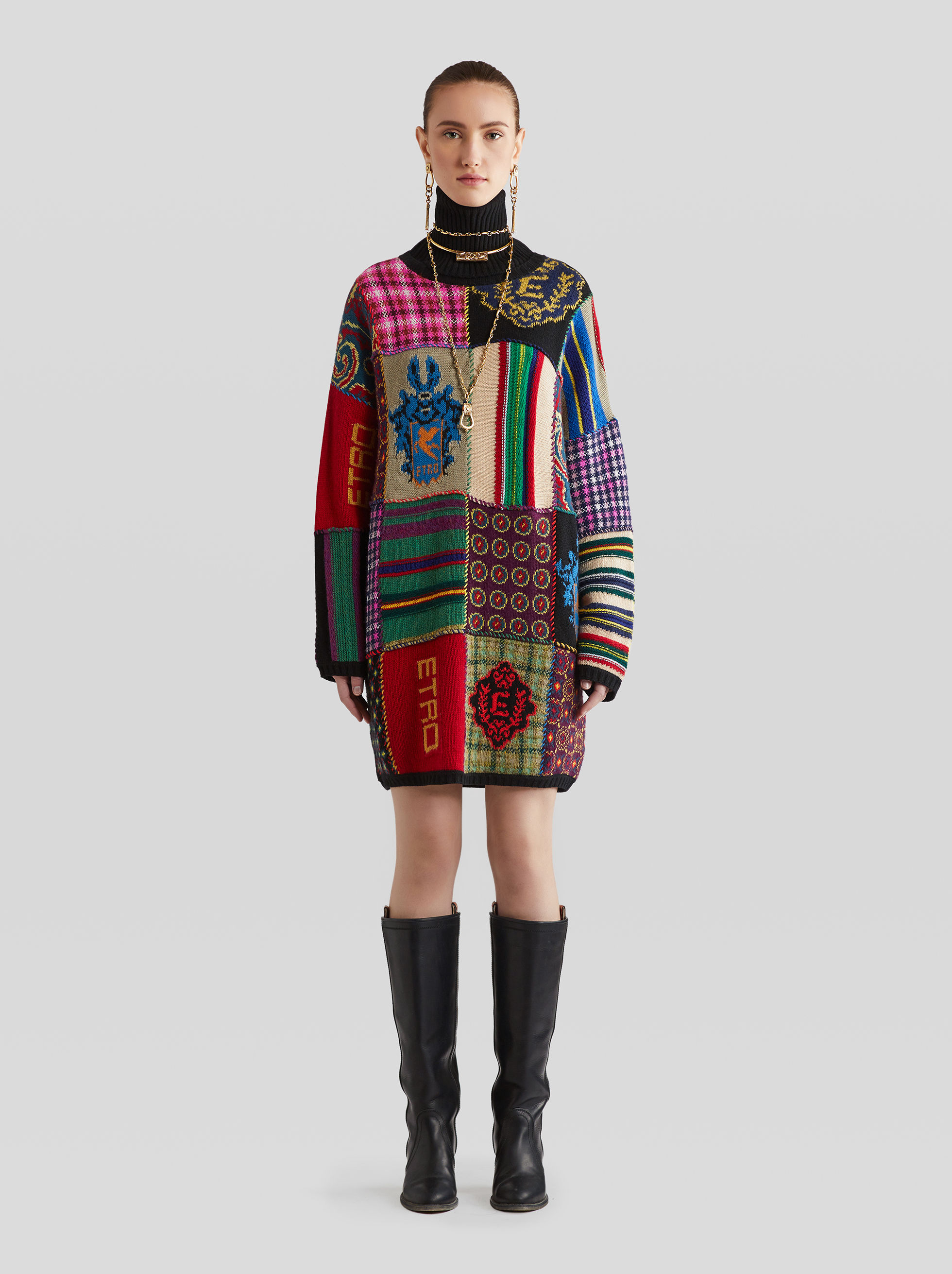 PATCHWORK WOOL JUMPER