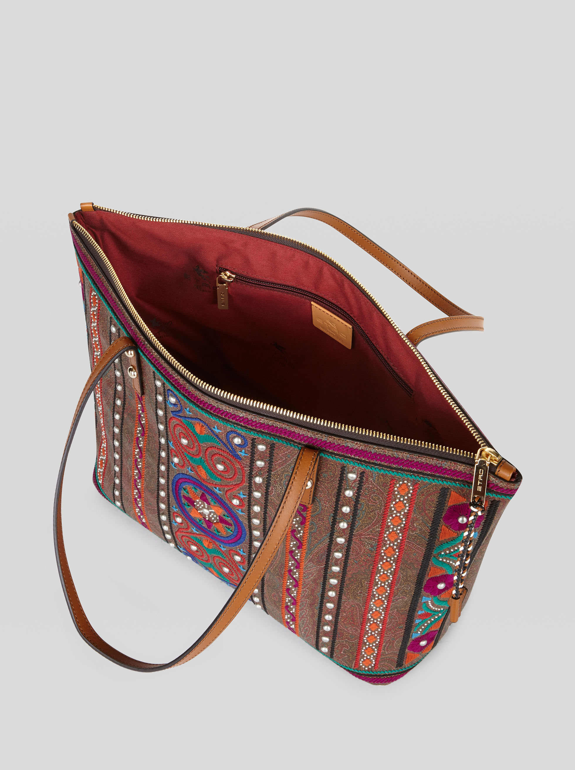 EMBROIDERED PAISLEY SHOPPING BAG