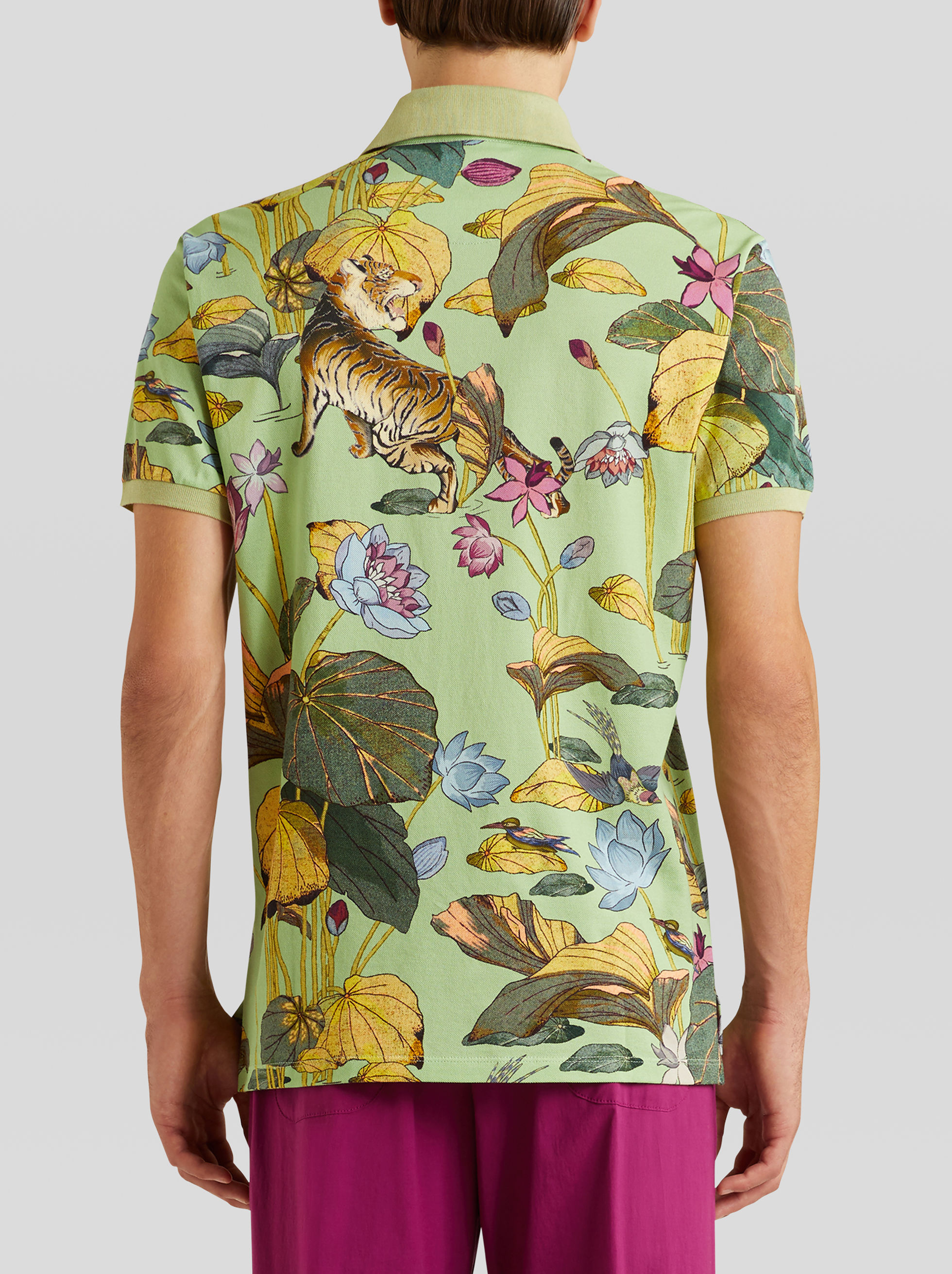 TIGER AND WATER LILY PRINT POLO SHIRT