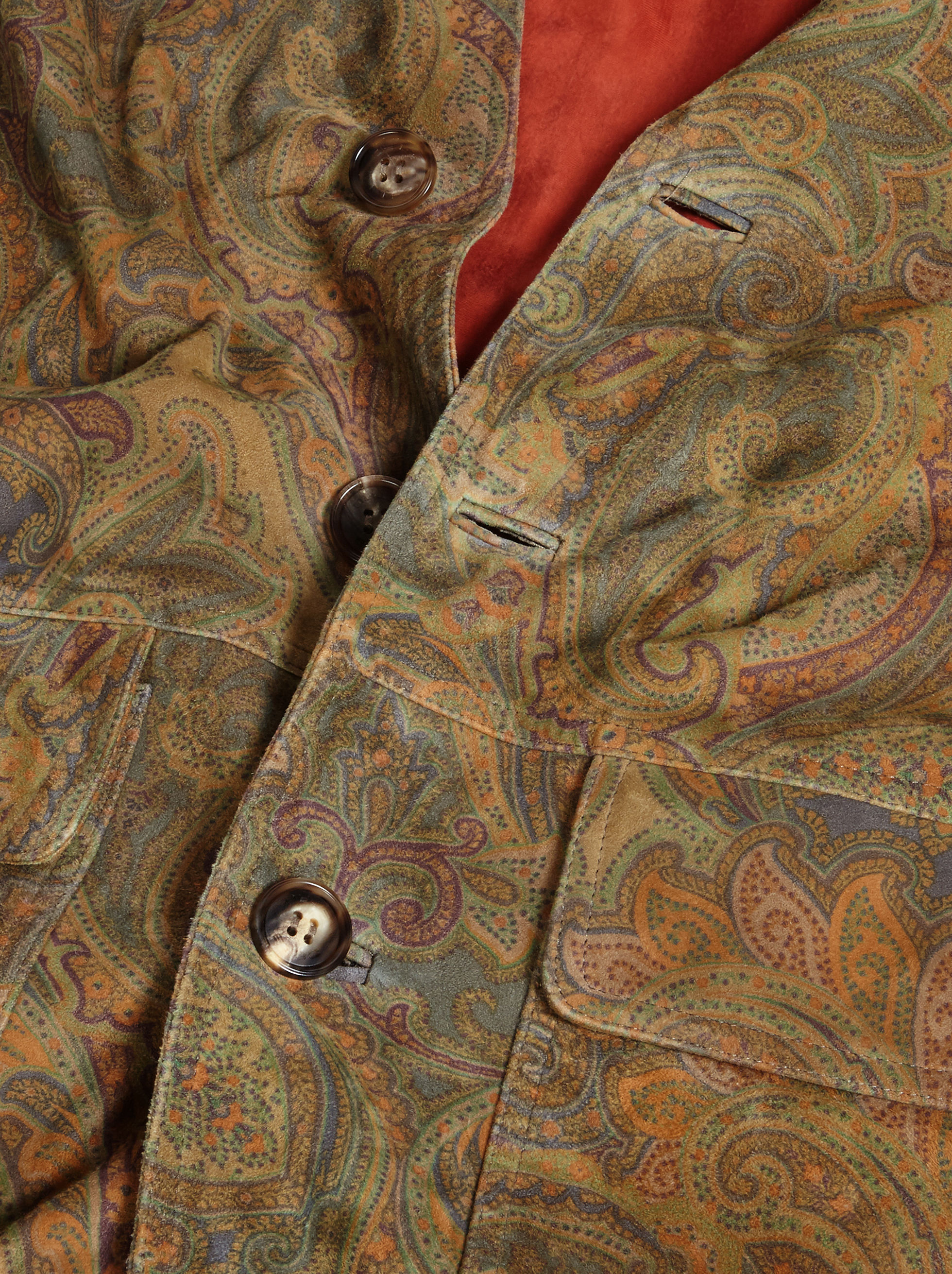 PAISLEY PRINT SUEDE BOMBER JACKET