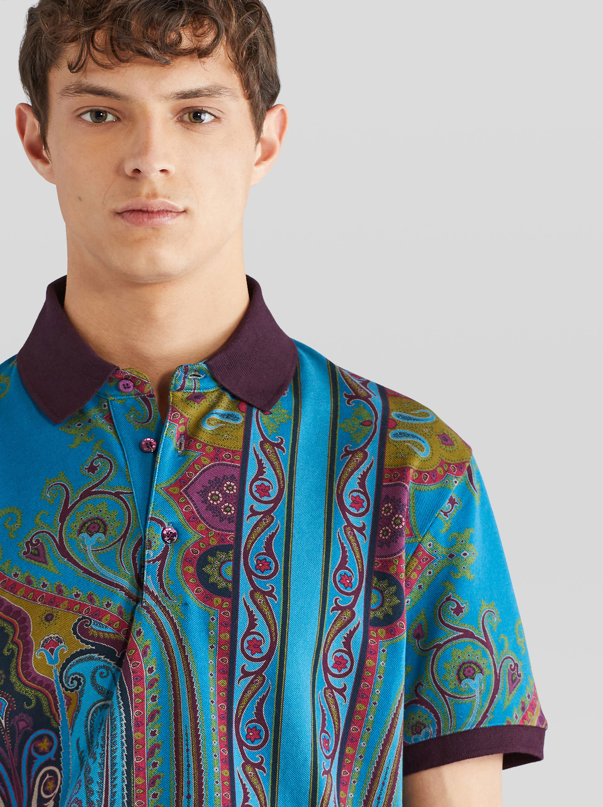 PIQUET POLO SHIRT WITH PAISLEY PATTERNS