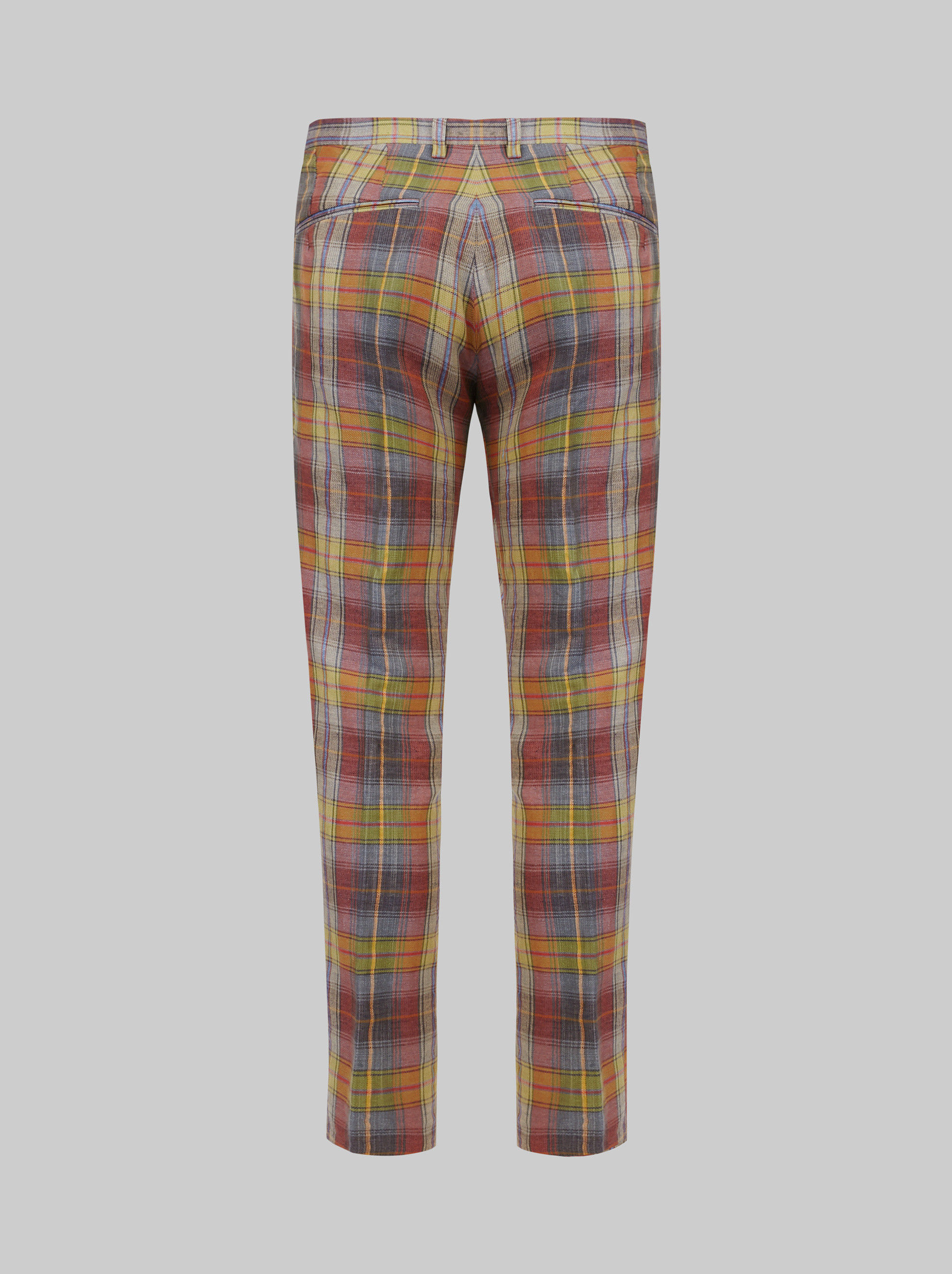 PLEATED TARTAN TAILORED TROUSERS