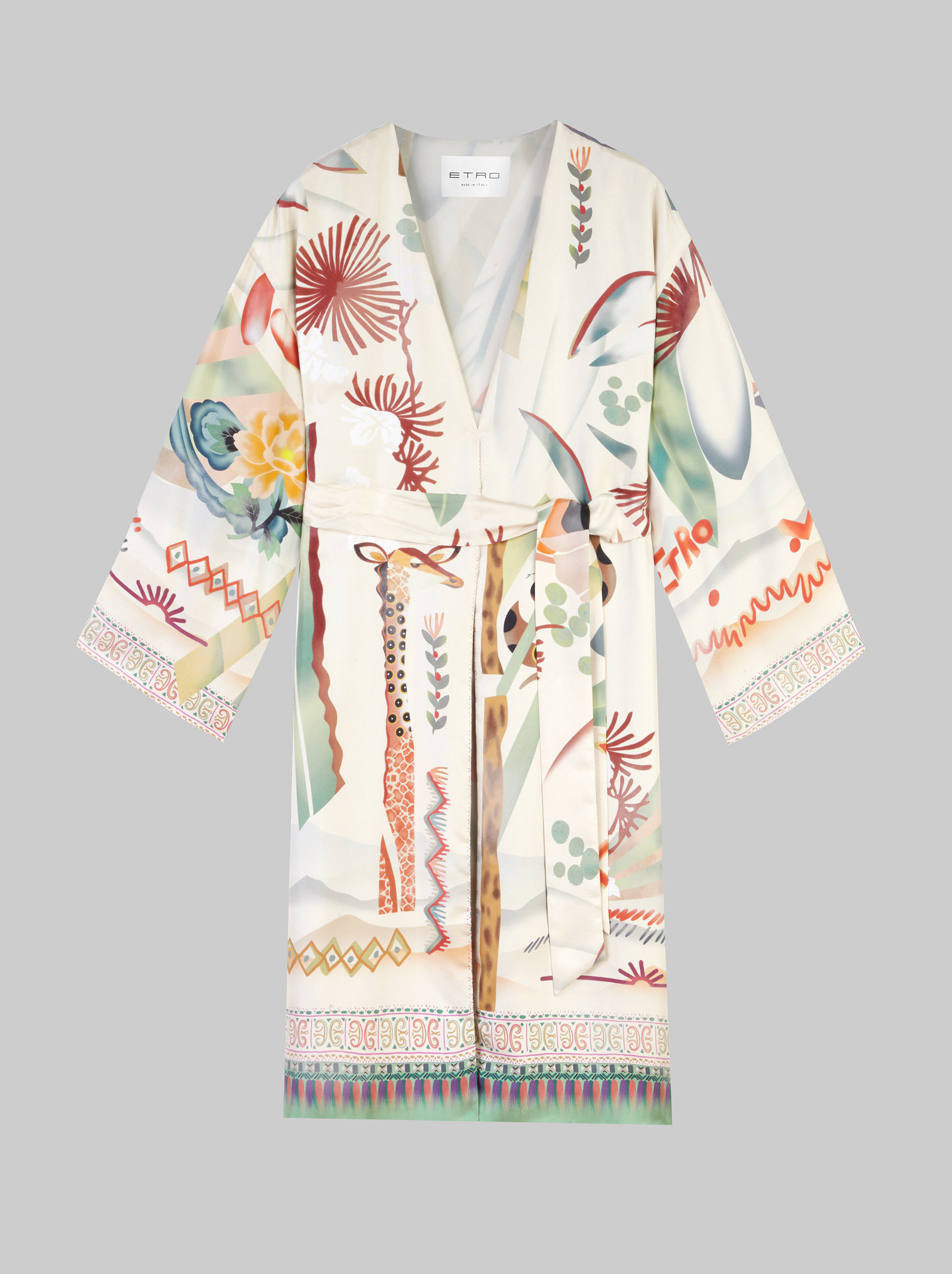 LIGHT GRAFFITI PRINT SILK COAT