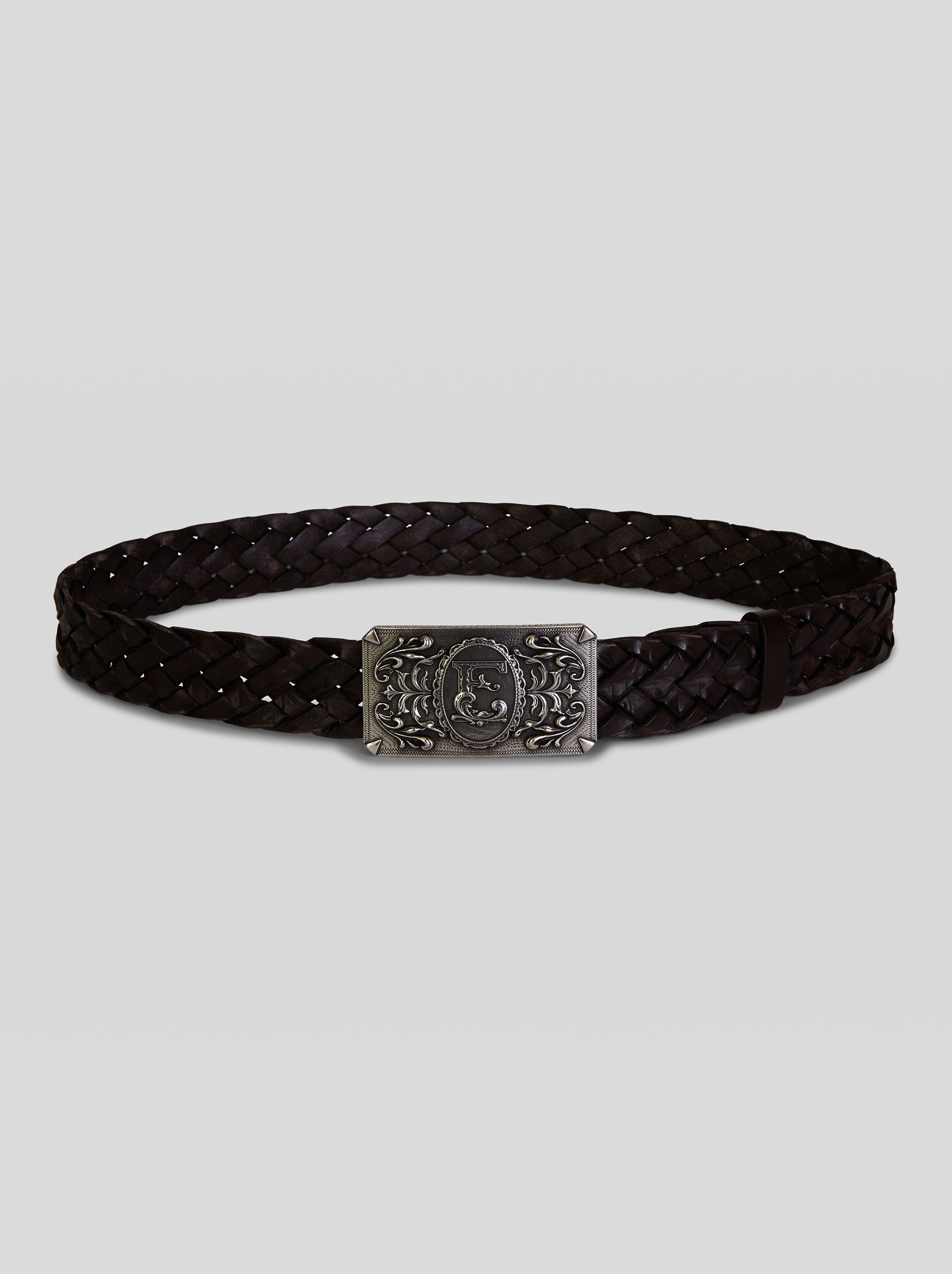 WOVEN LEATHER BELT WITH HERALDIC ETRO BUCKLE