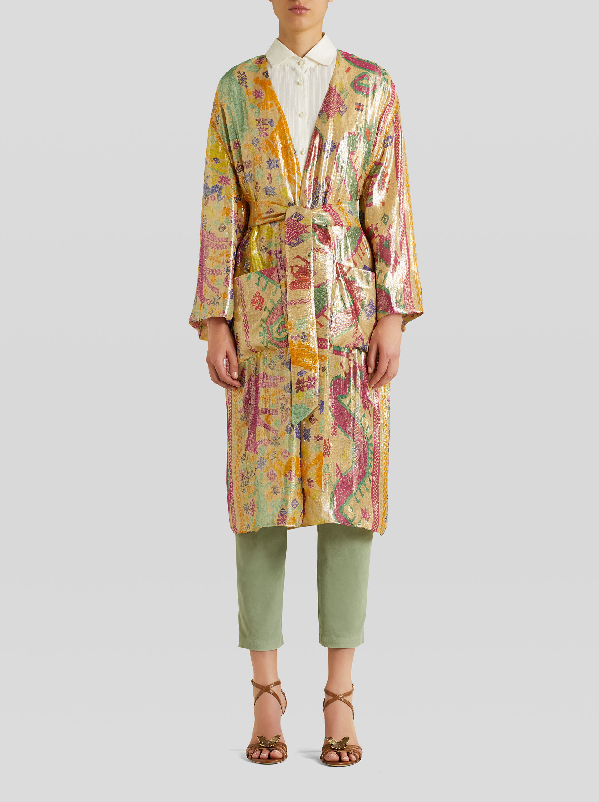 LIGHT SILK COAT WITH EMBROIDERED TECHNICAL PRINT