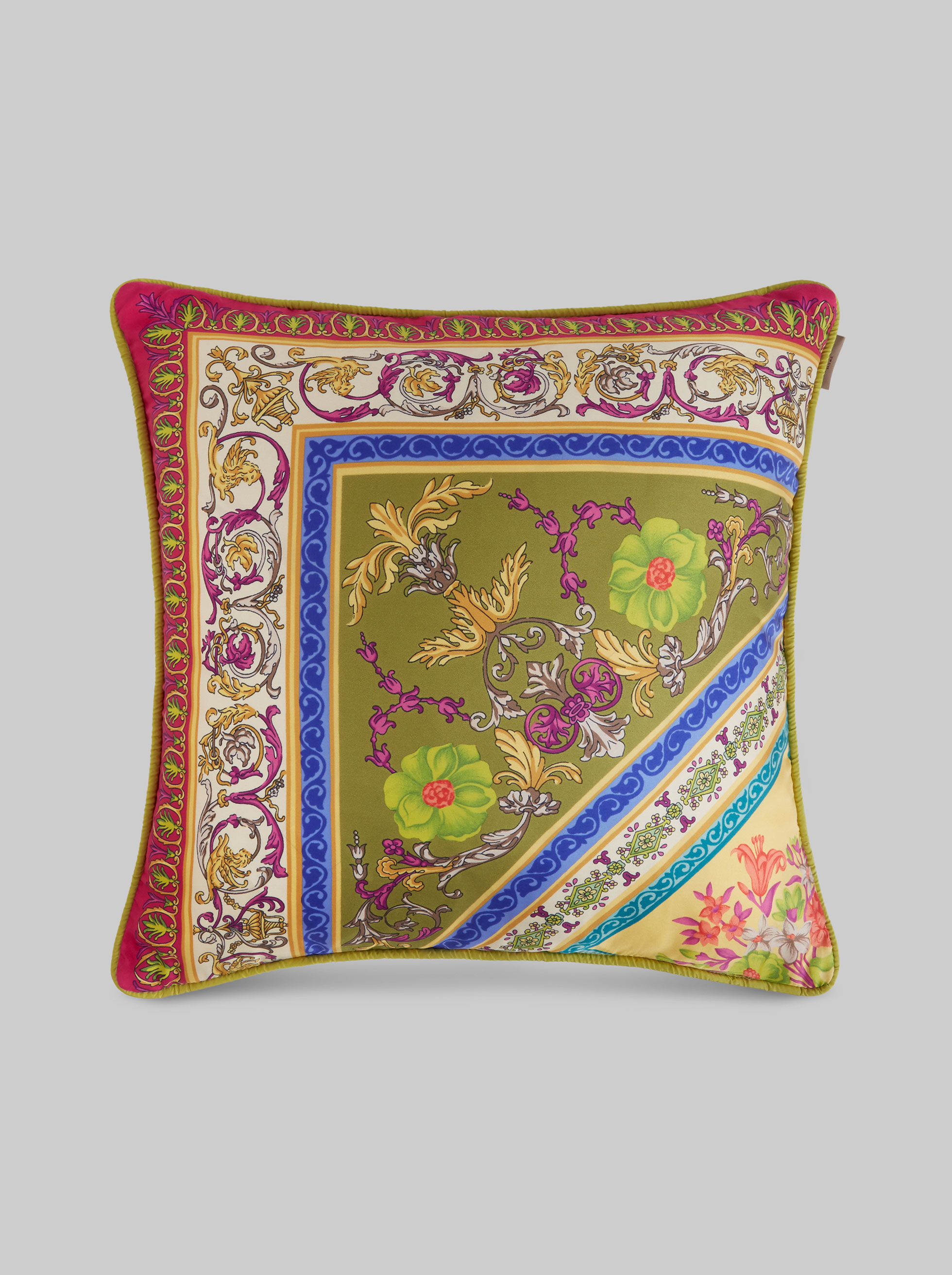 MULTI-COLOURED PRINT SILK TWILL CUSHION