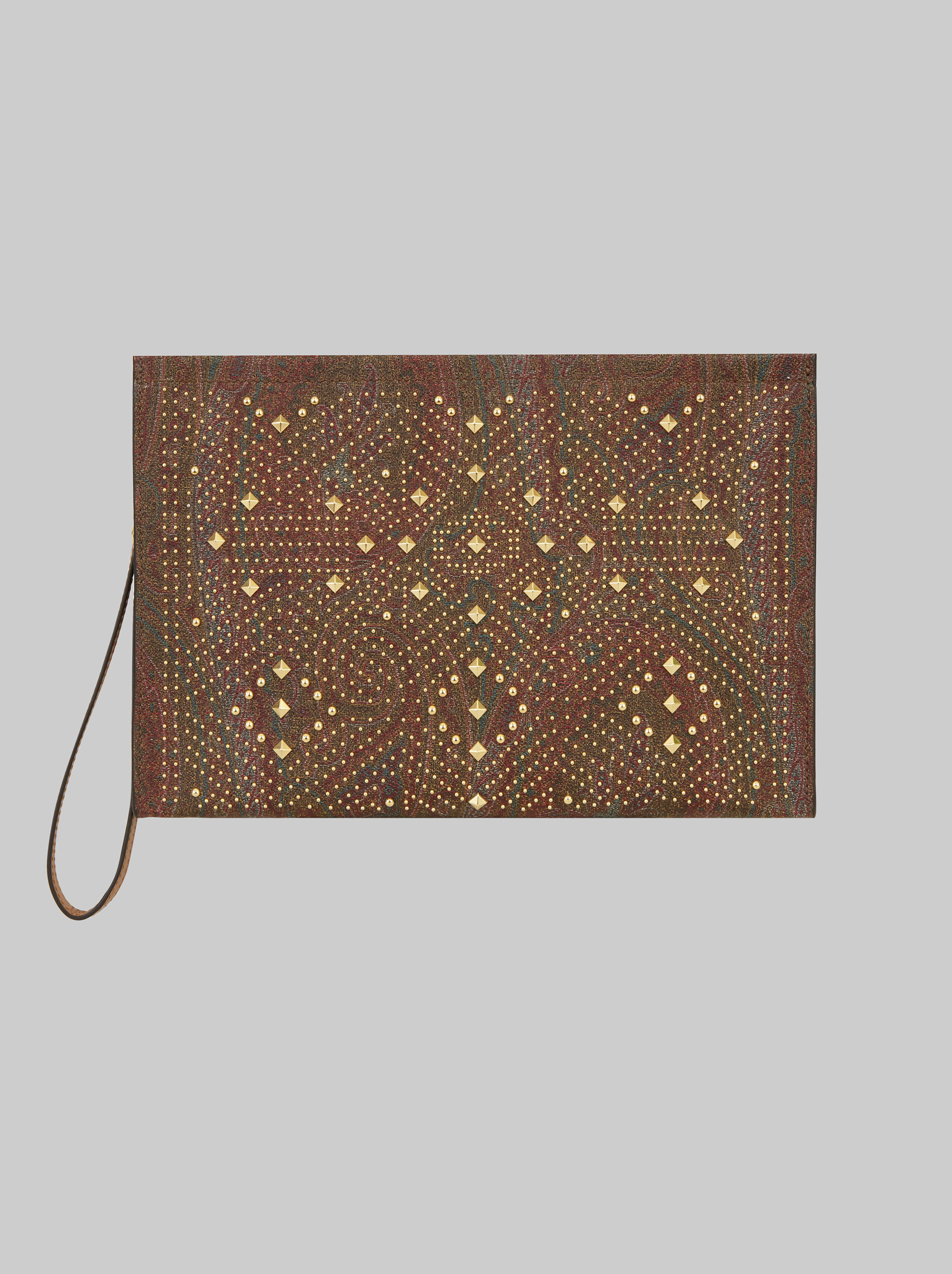 STUDDED PAISLEY CLUTCH