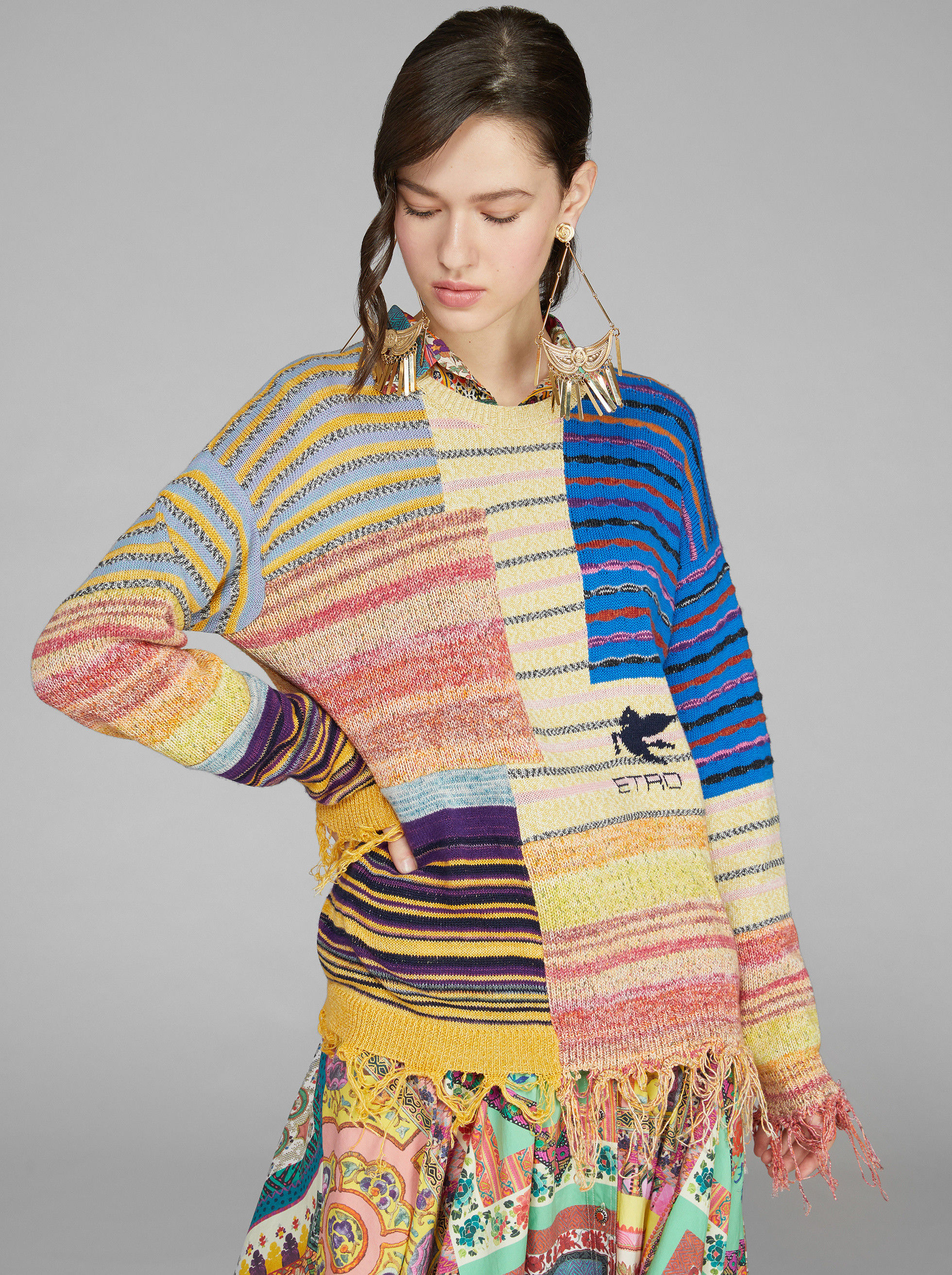 STRIPED PATCHWORK SWEATER WITH PEGASO