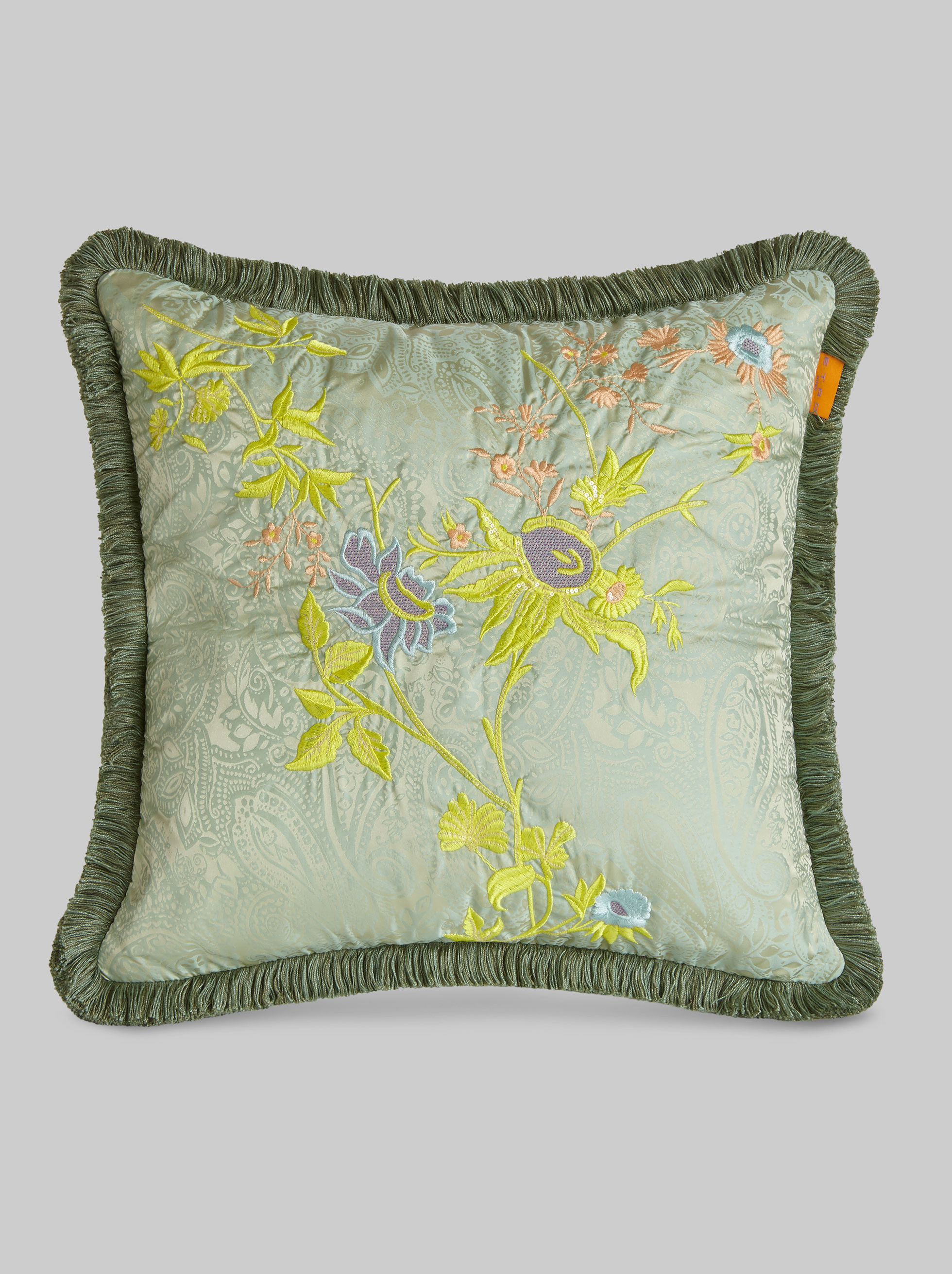 EMBROIDERED CUSHION WITH FLORAL DECORATIONS