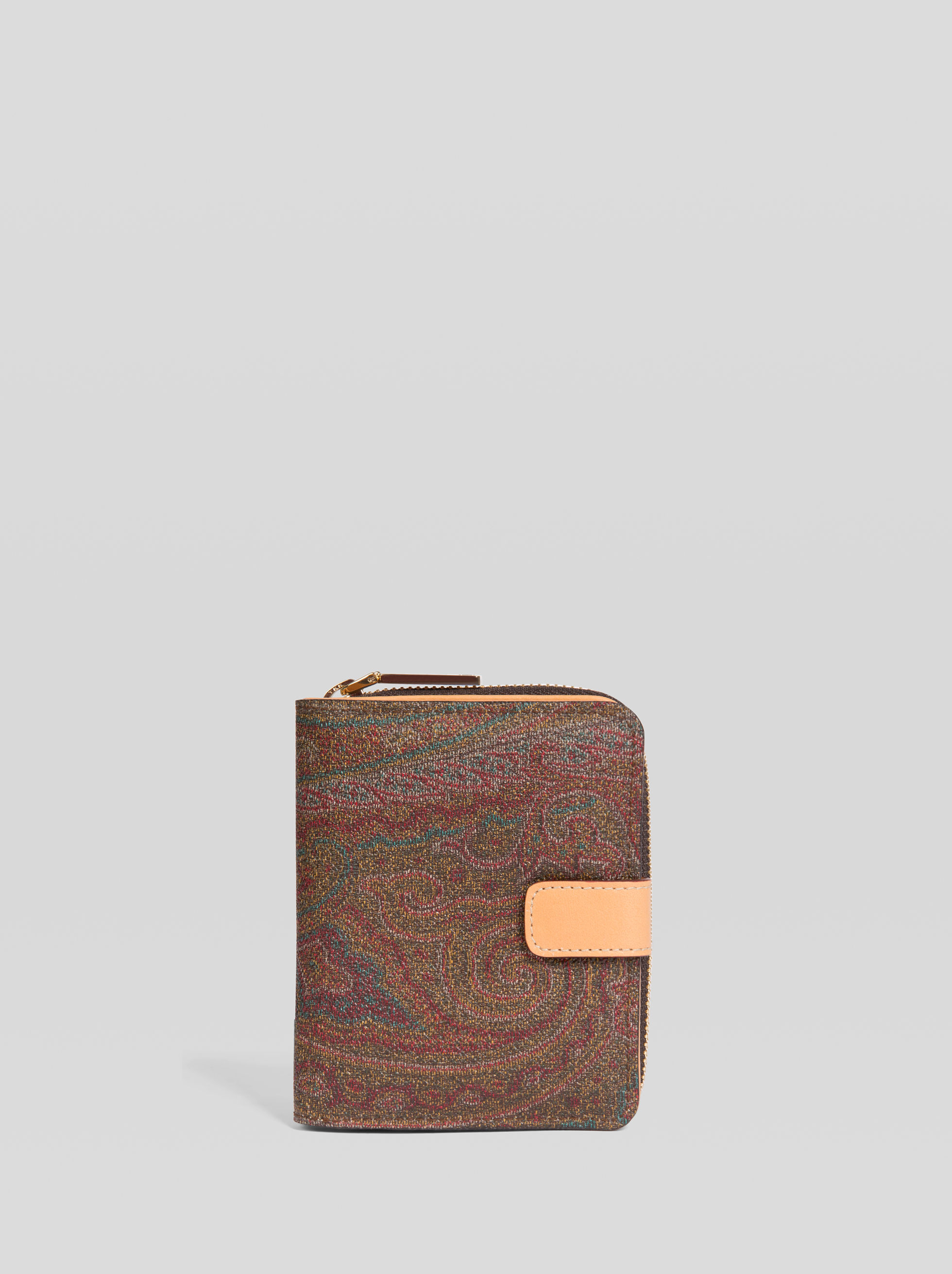 PAISLEY WALLET WITH ZIP AND BUTTON CLOSURE