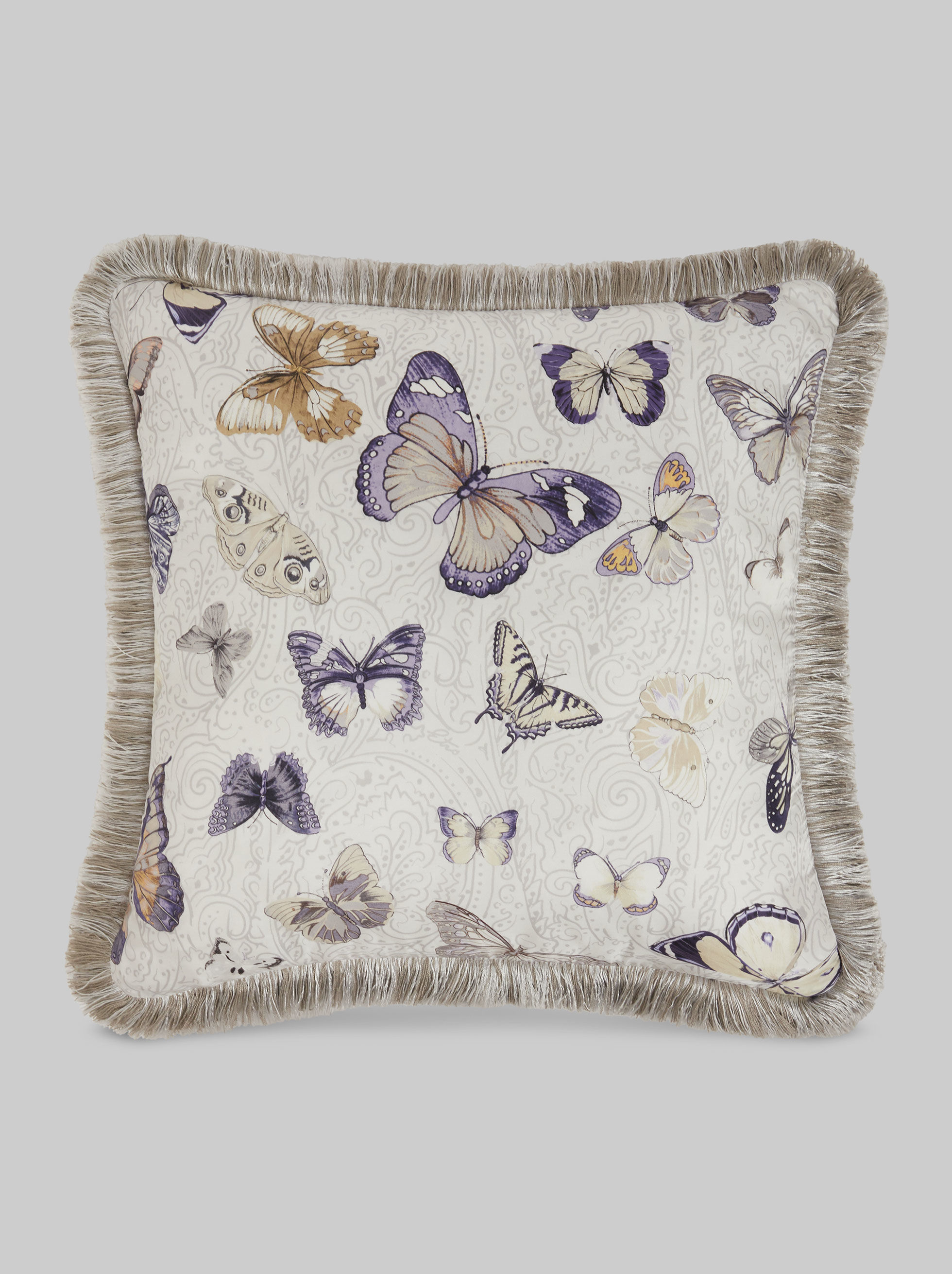 BUTTERFLY PRINT SILK TWILL CUSHION