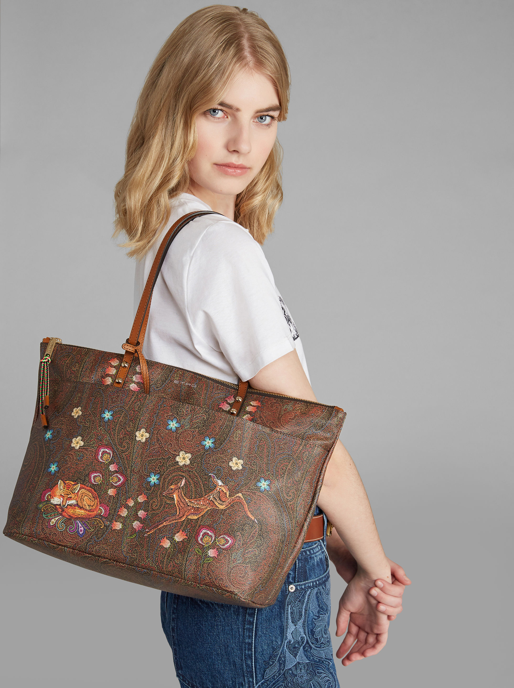 FAWN-PRINT PAISLEY SHOPPER BAG