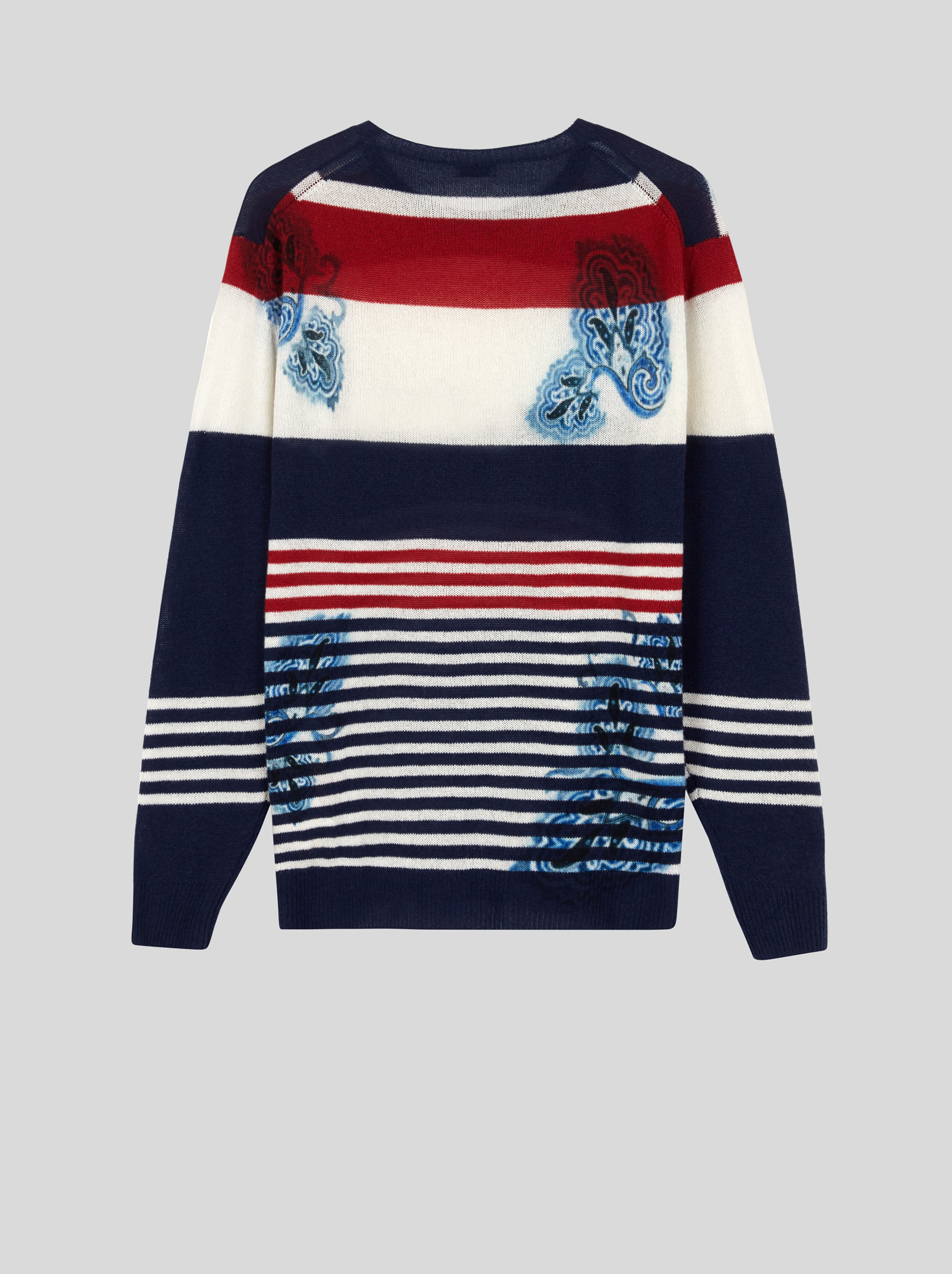 STRIPED CASHMERE JUMPER WITH PRINT