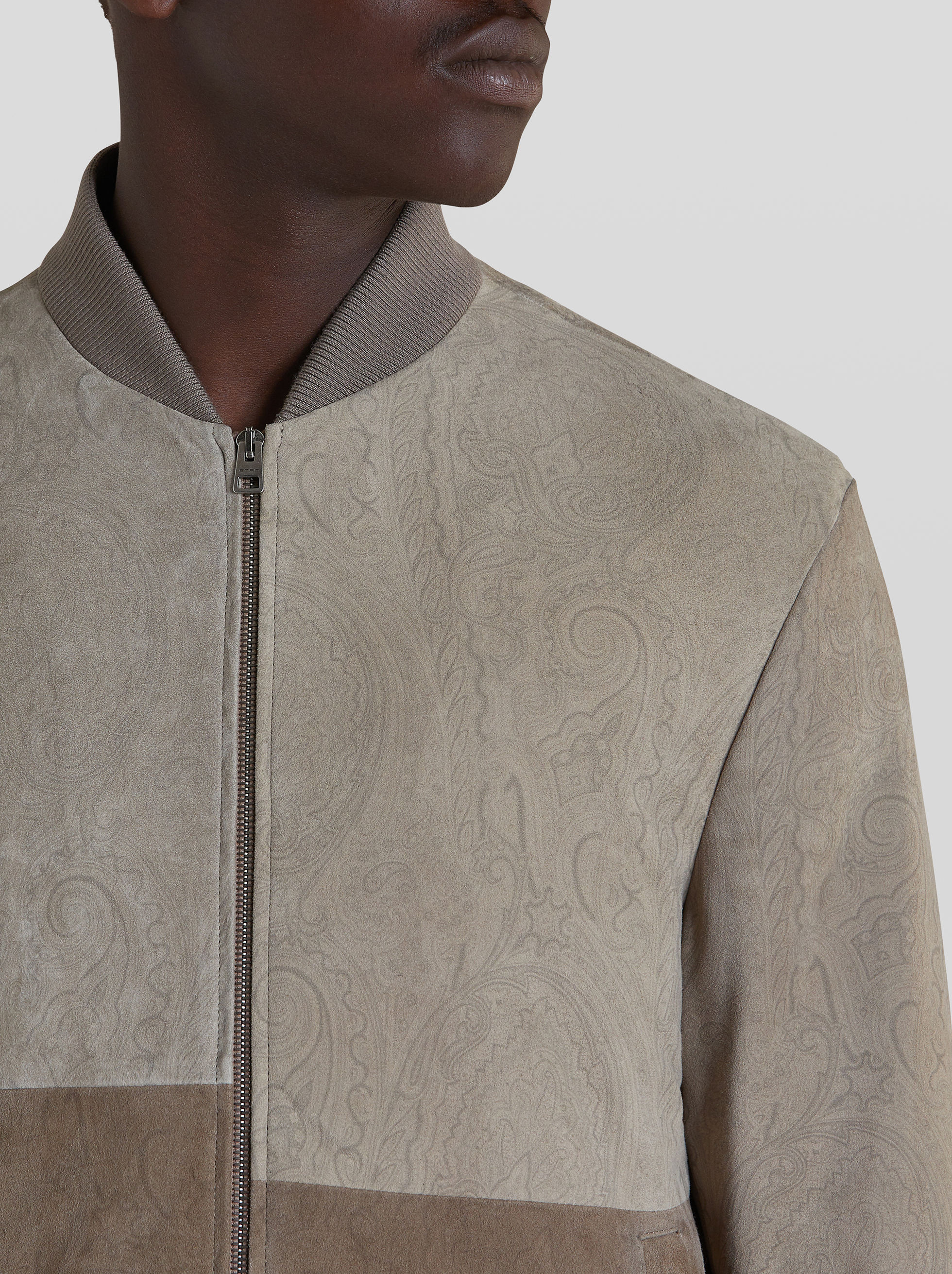 LEATHER BOMBER JACKET INLAID WITH PAISLEY PRINT