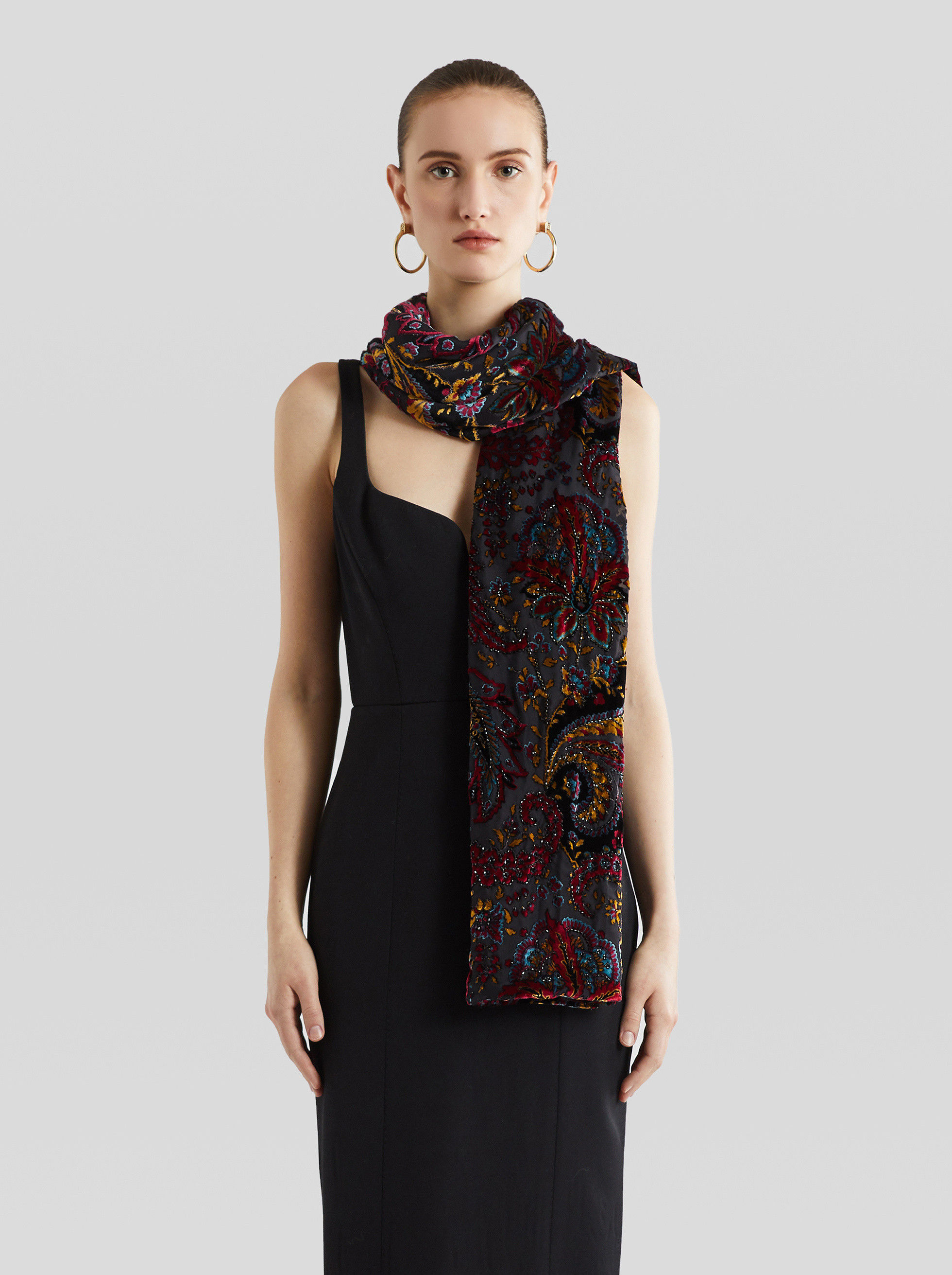 EMBROIDERED DEVORÉ VELVET SCARF