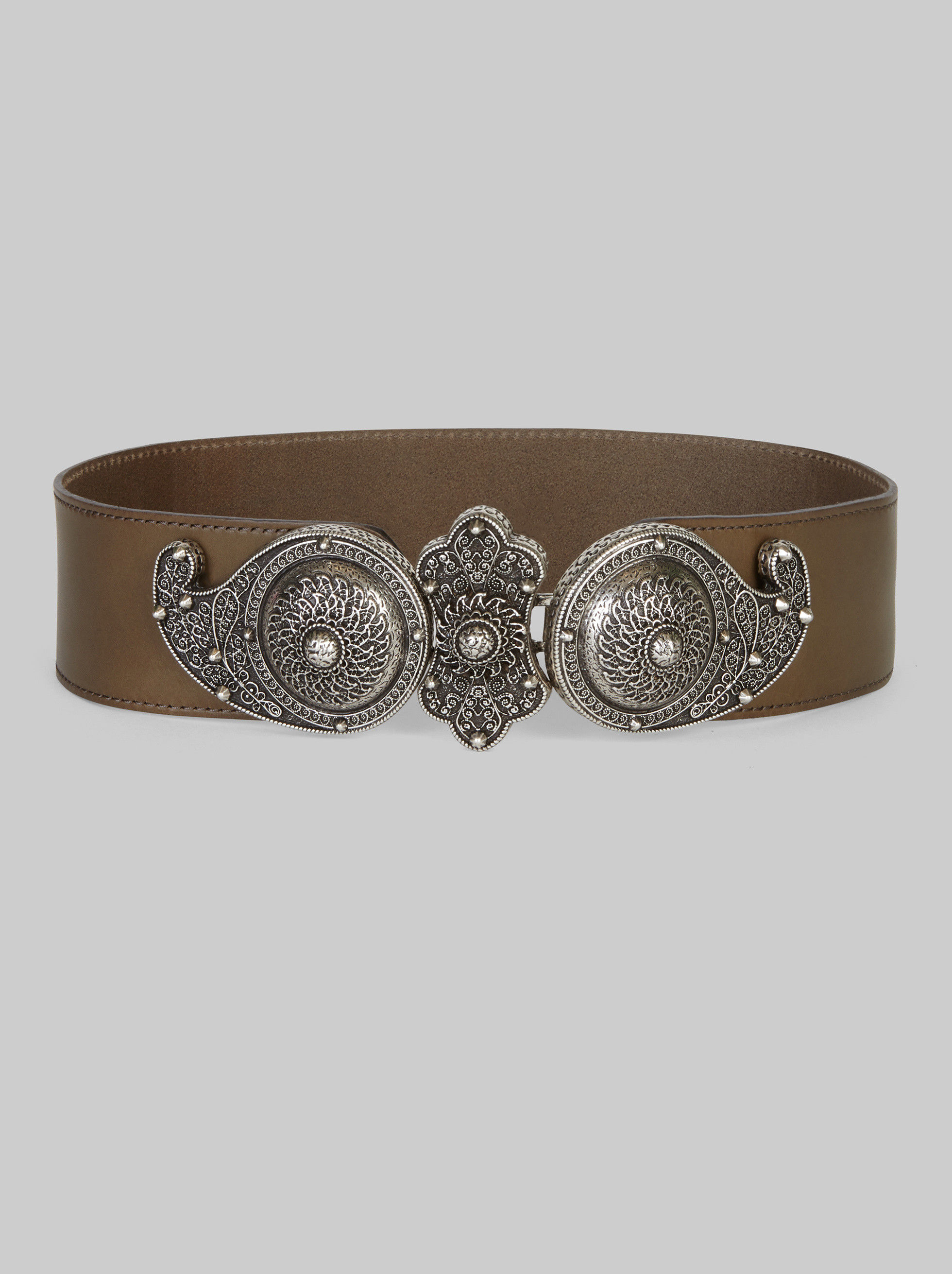 LEATHER BELT WITH PAISLEY BUCKLE