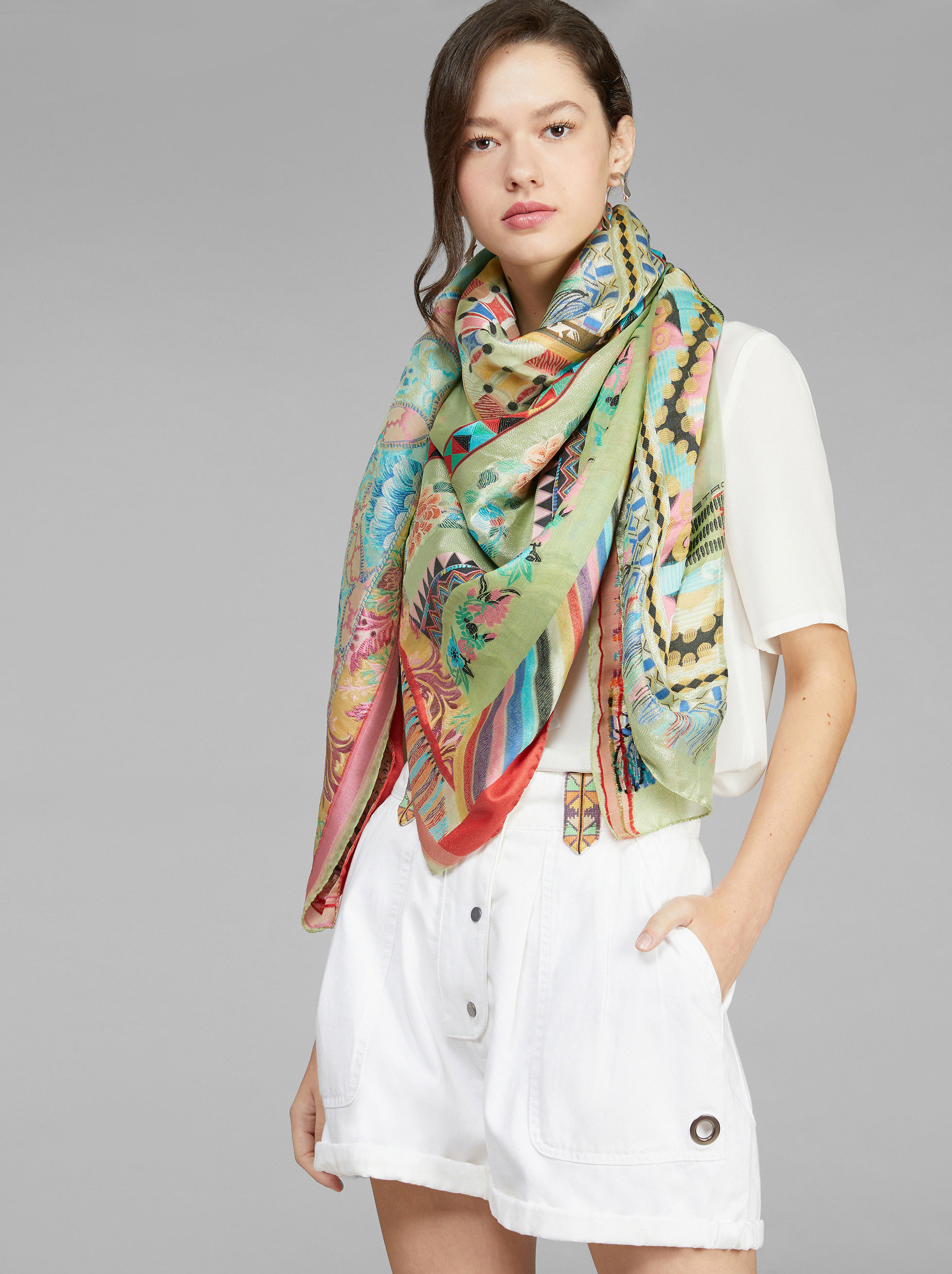 JACQUARD SHAWL WITH LUREX