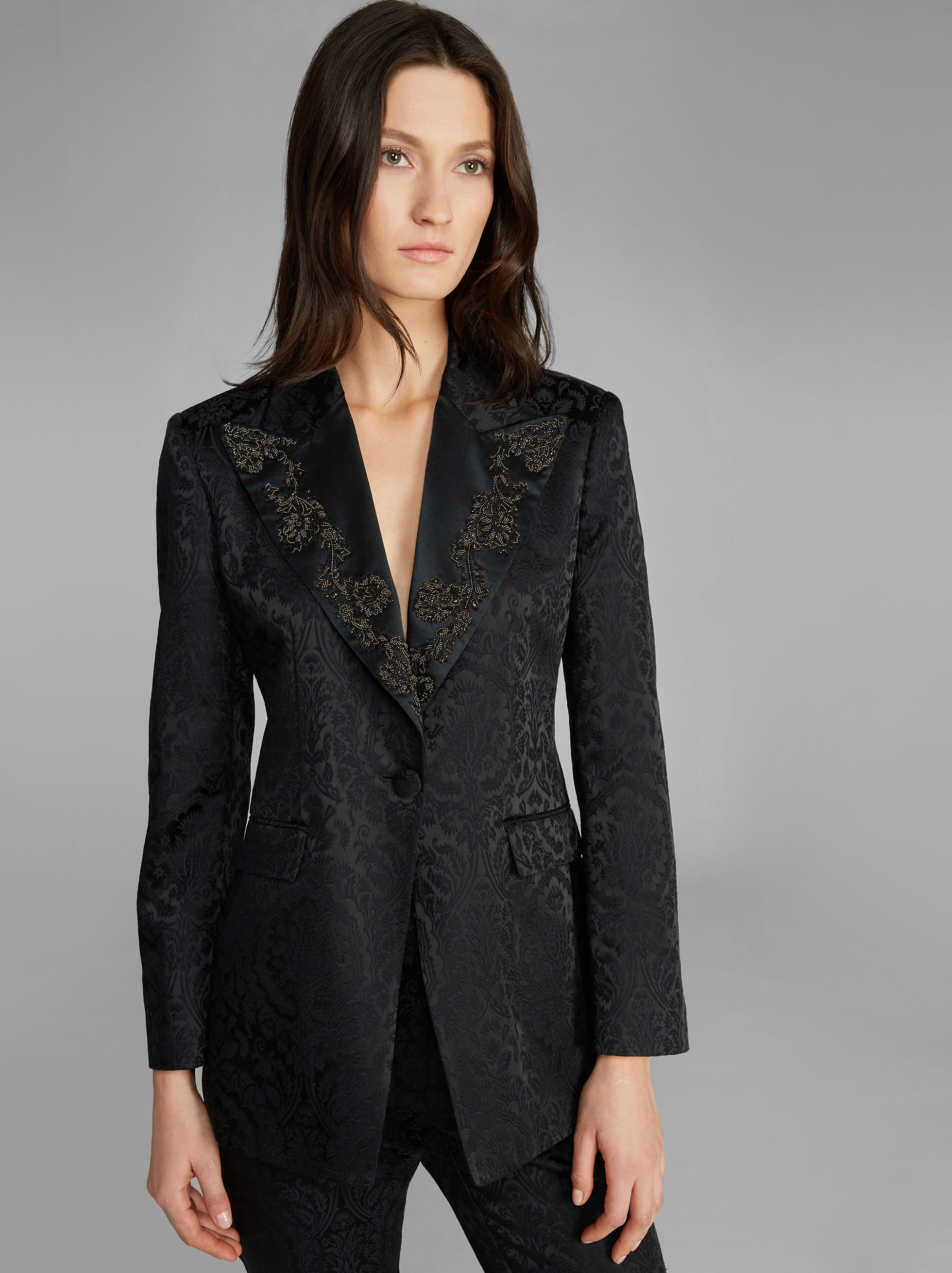 JACQUARD JACKET WITH EMBROIDERY
