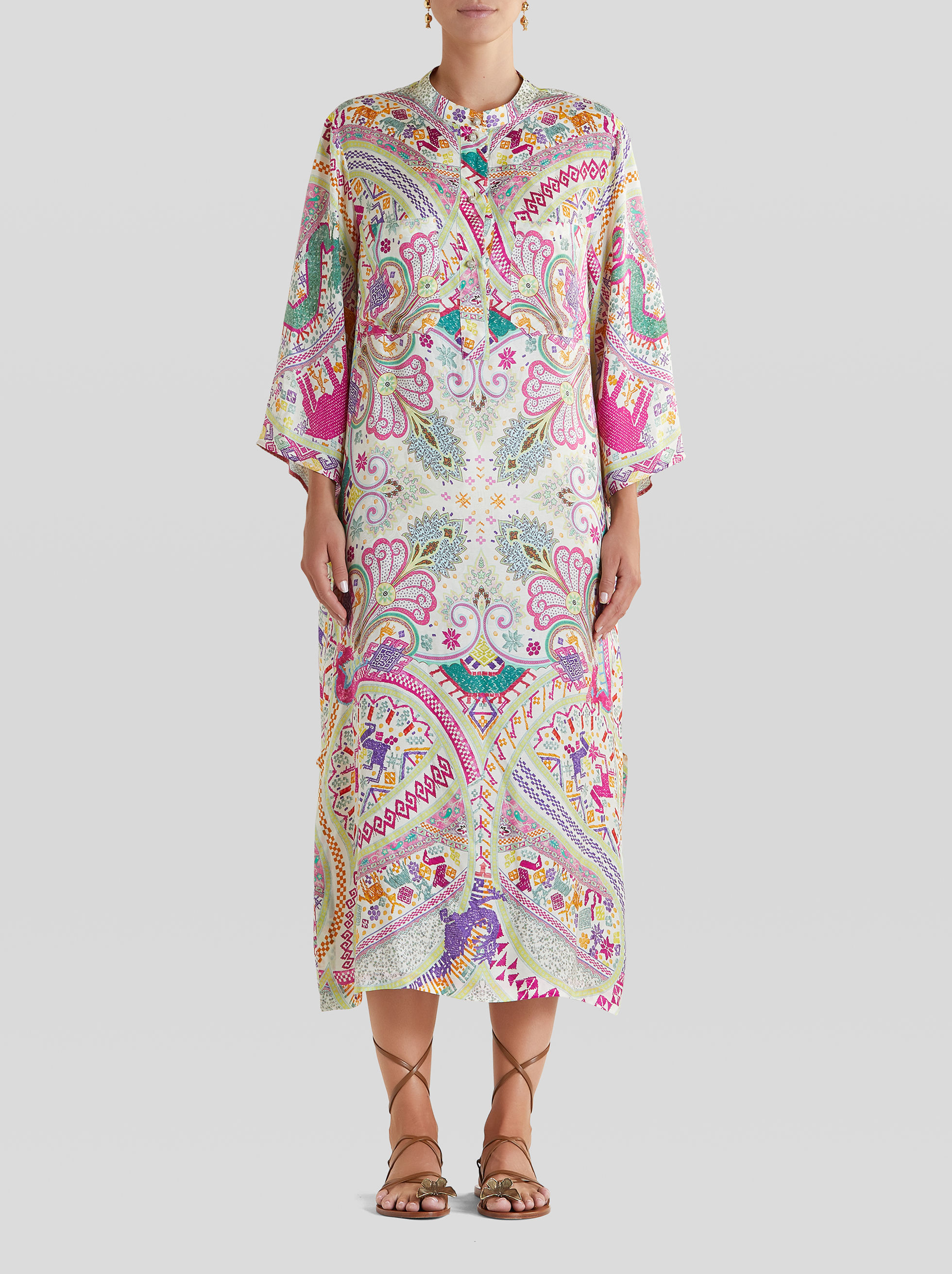 LONG NAÏF PAISLEY PRINT DRESS