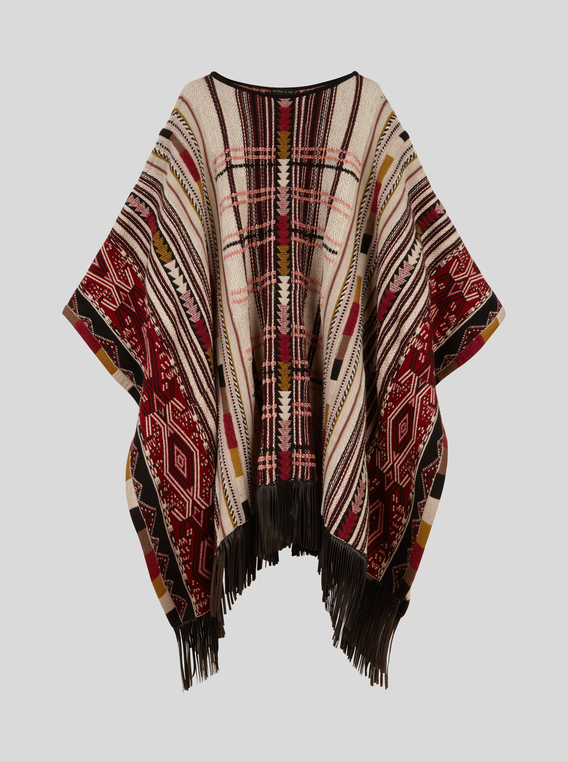 JACQUARD PONCHO WITH FRINGE