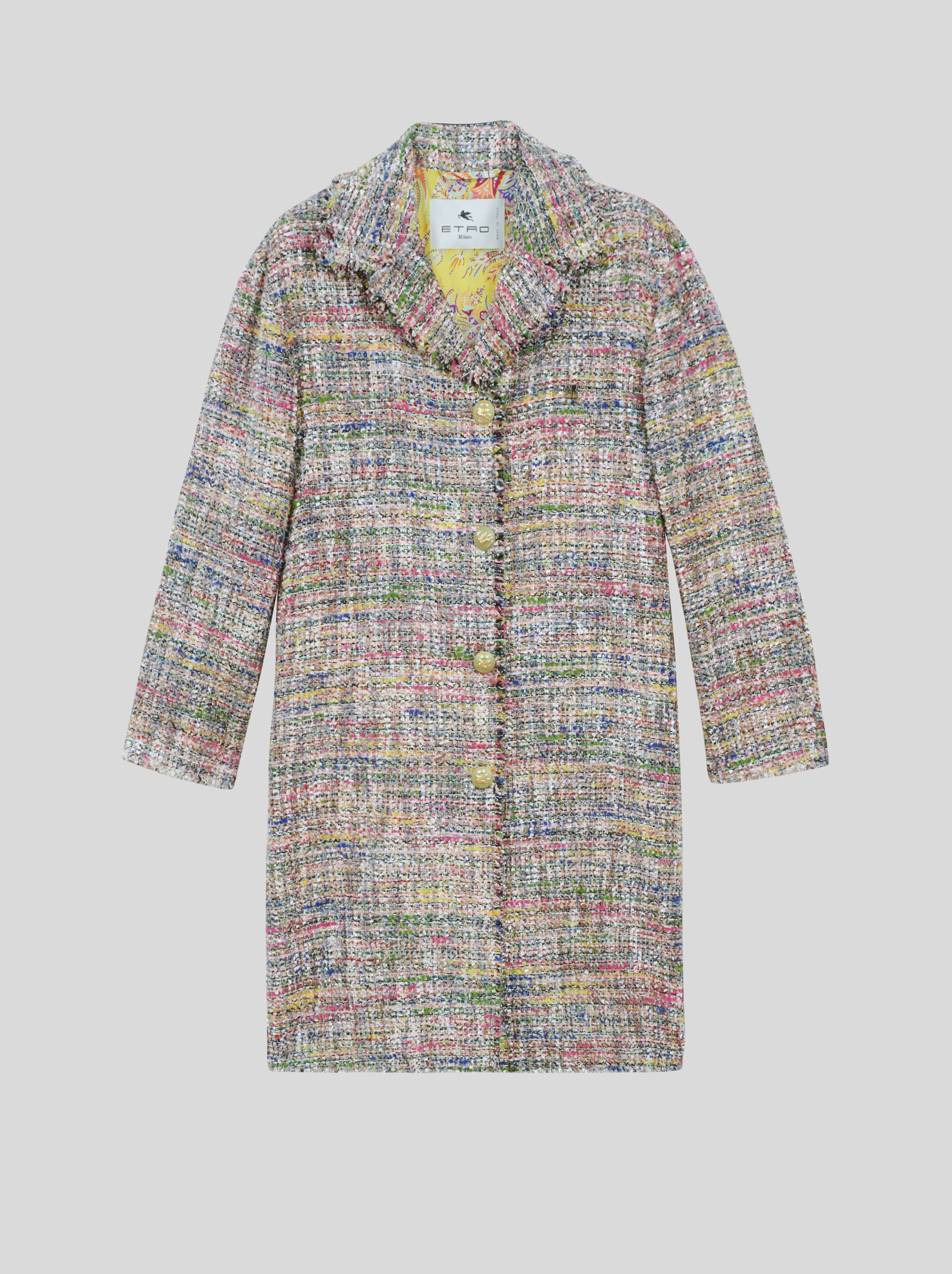 LIGHT BOUCLÉ COAT WITH PEGASO BUTTONS