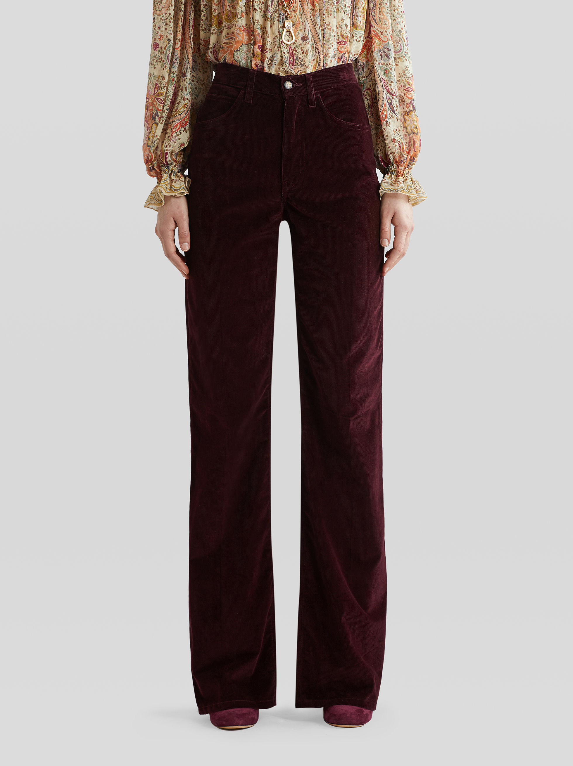 FLARED, RIBBED VELVET TROUSERS