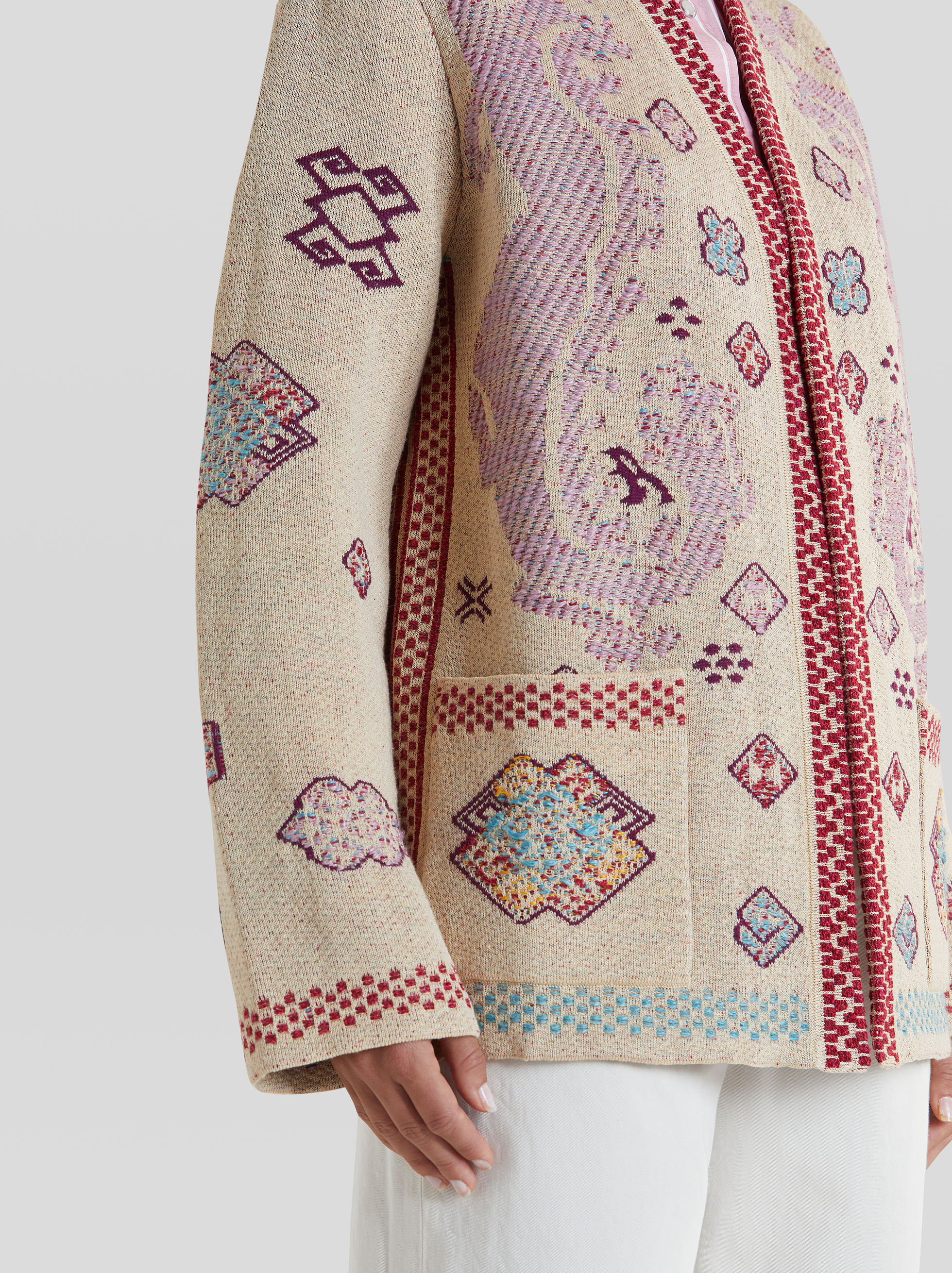 EMBROIDERY-EFFECT JACQUARD CARDIGAN