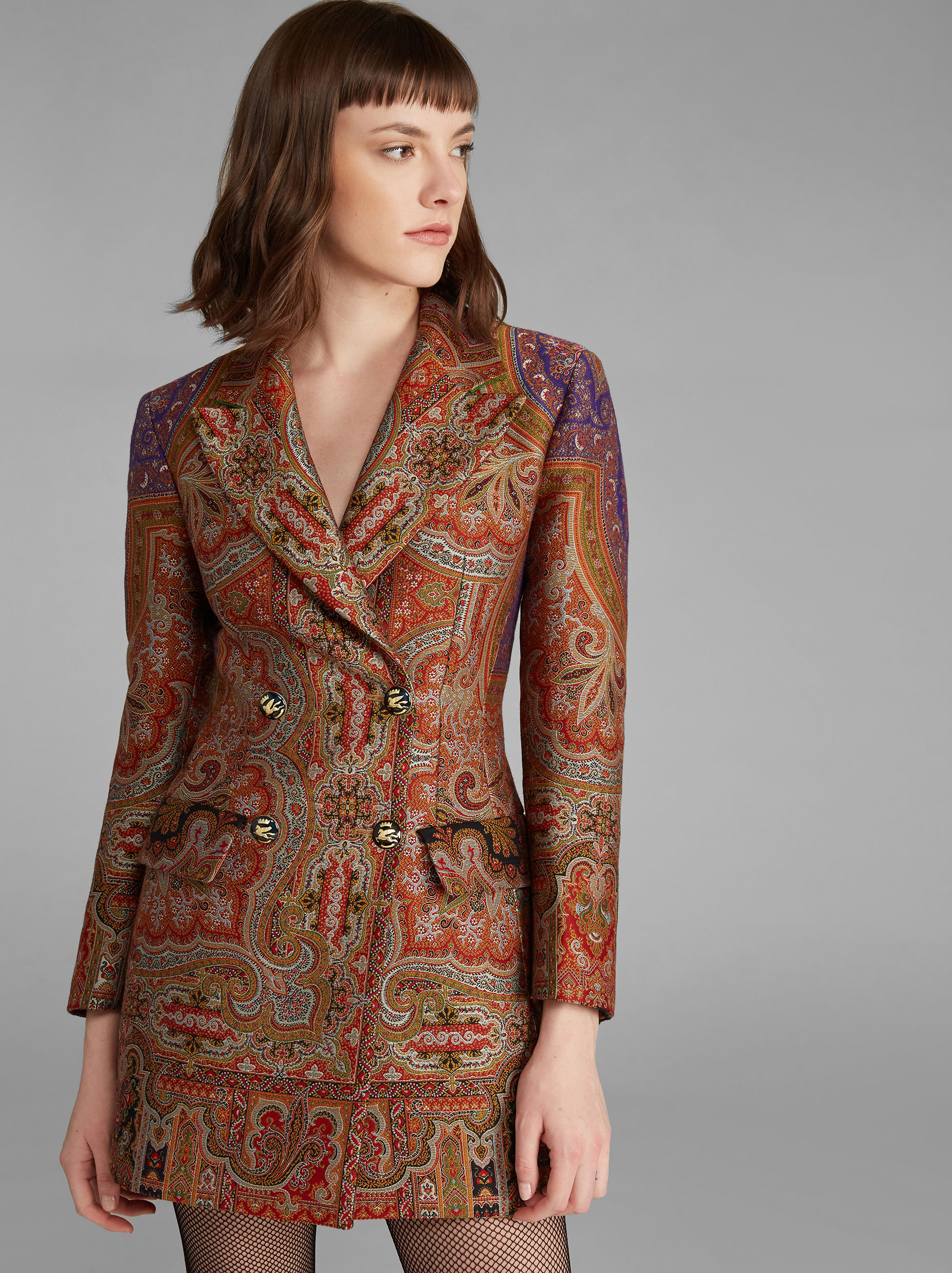 PAISLEY JACQUARD DOUBLE-BREASTED JACKET