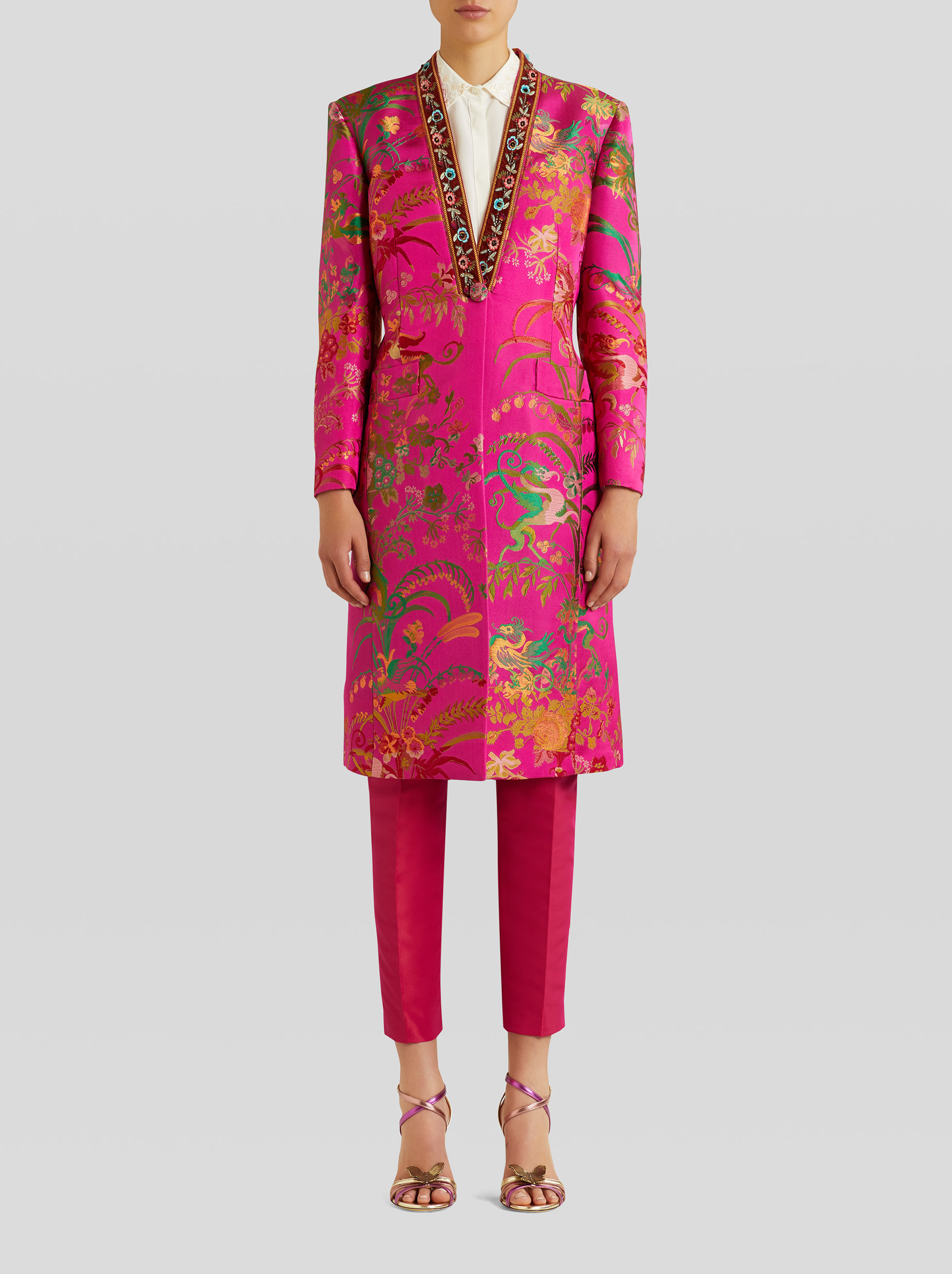 LIGHT JACQUARD COAT WITH TROPICAL PATTERN AND EMBROIDERY
