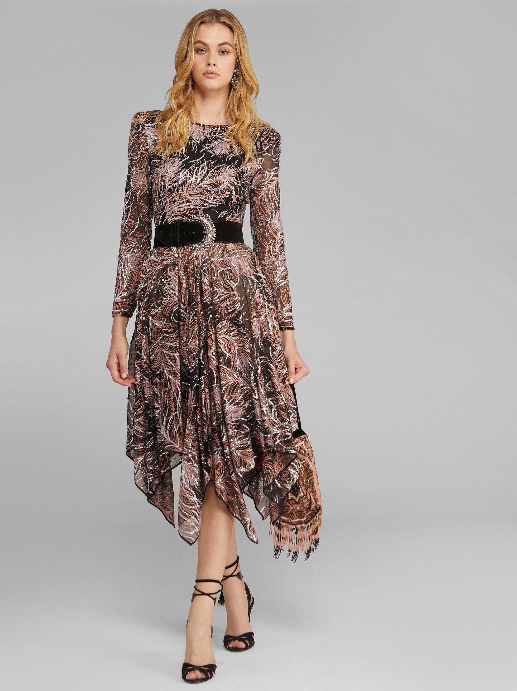 CHIFFON DRESS WITH GLITTER PATTERNS