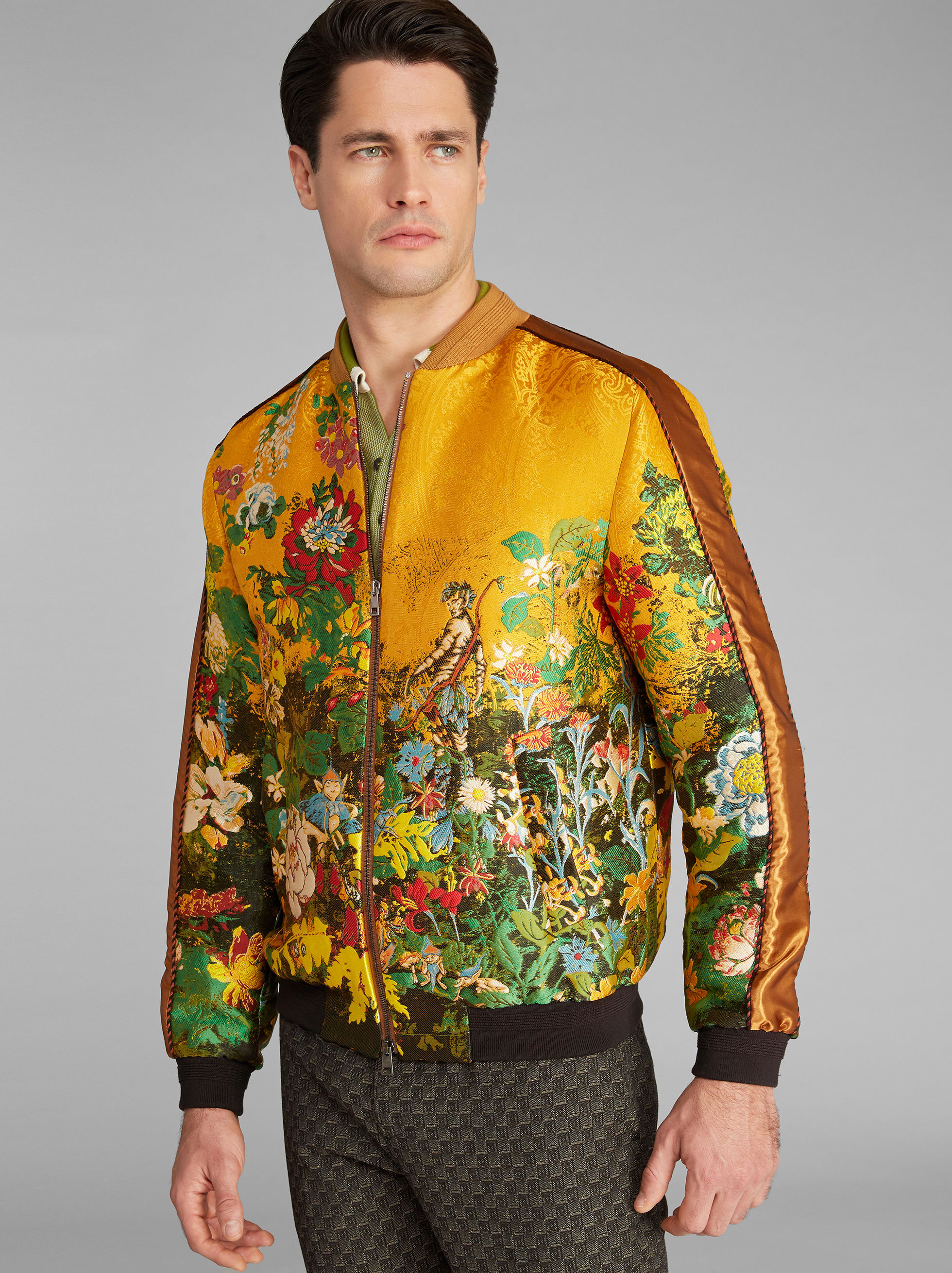 JACQUARD BOMBER JACKET WITH INTARSIA