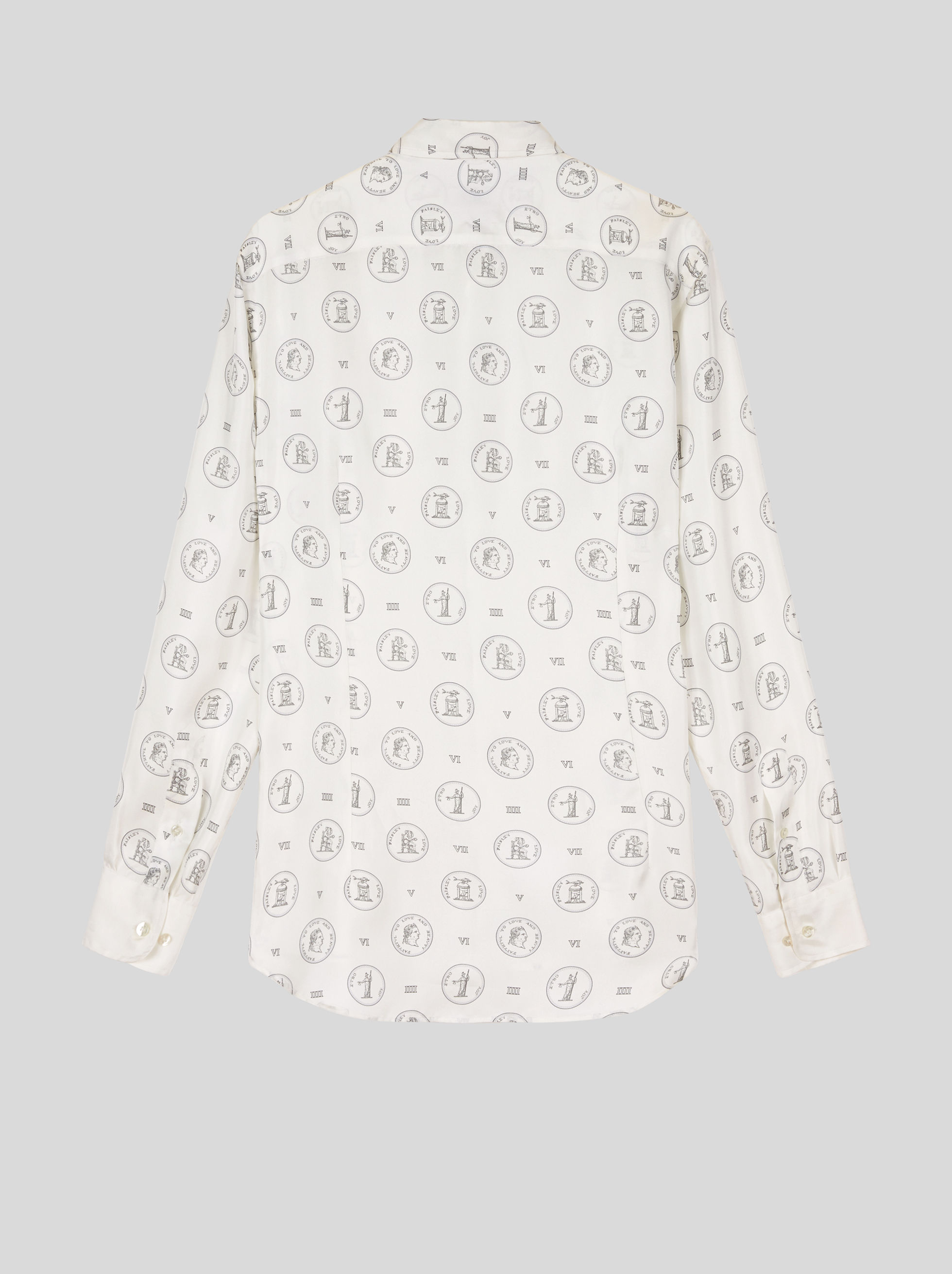 SILK SHIRT WITH OLD COIN PRINT