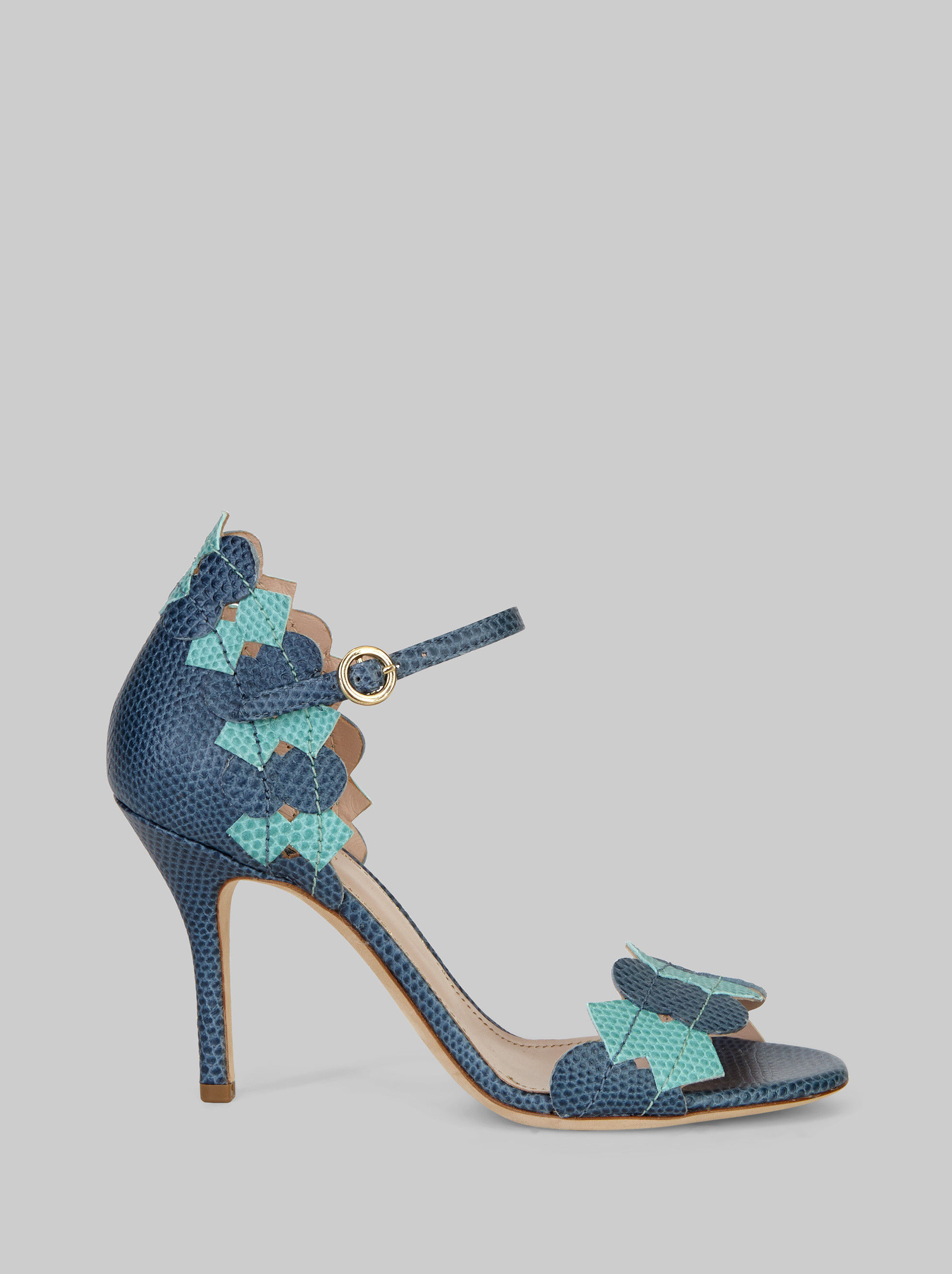 LIZARD PRINT SANDALS WITH GEOMETRIC PATTERNS
