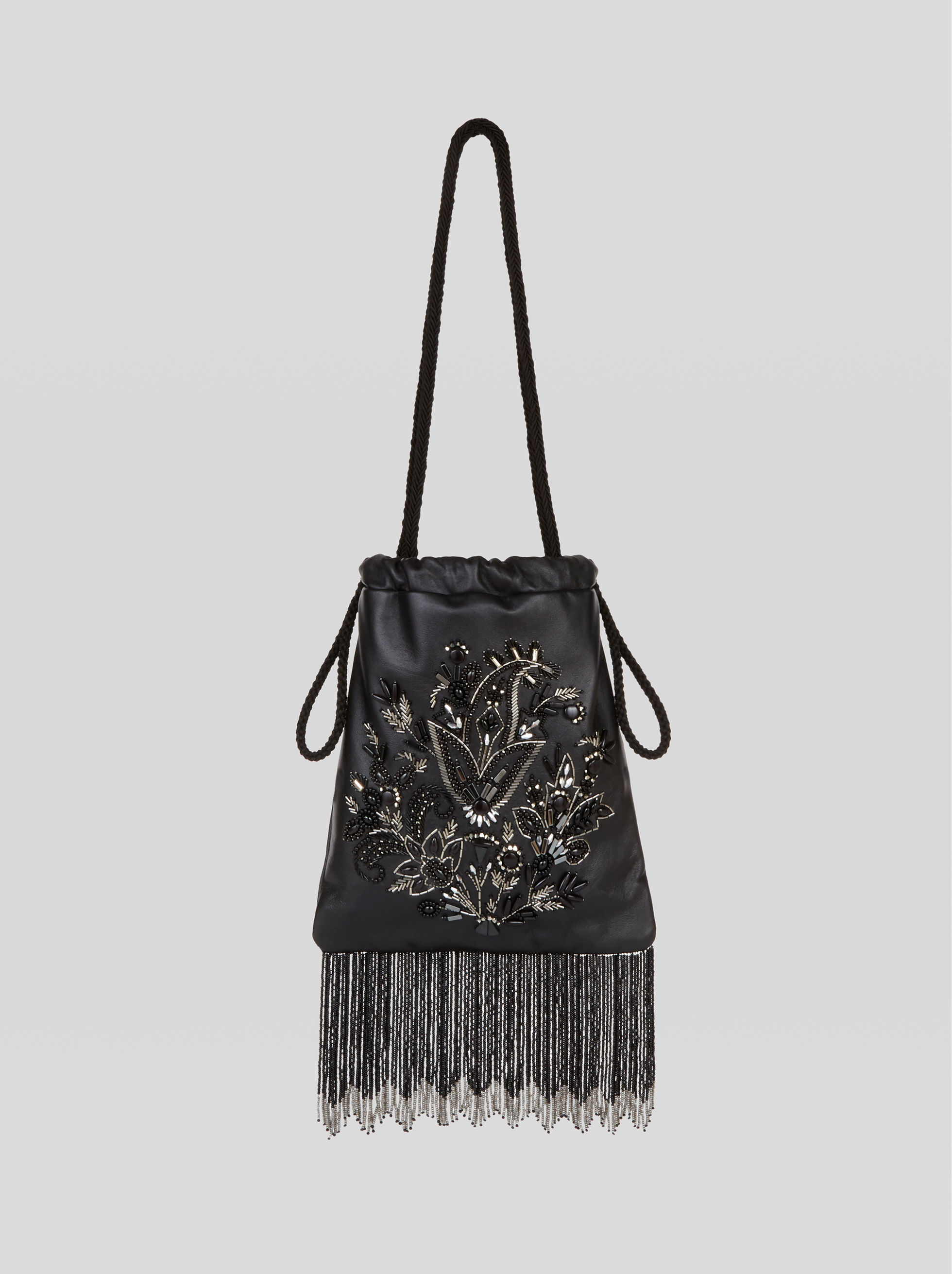BUCKET BAG WITH EMBROIDERY AND BEADS
