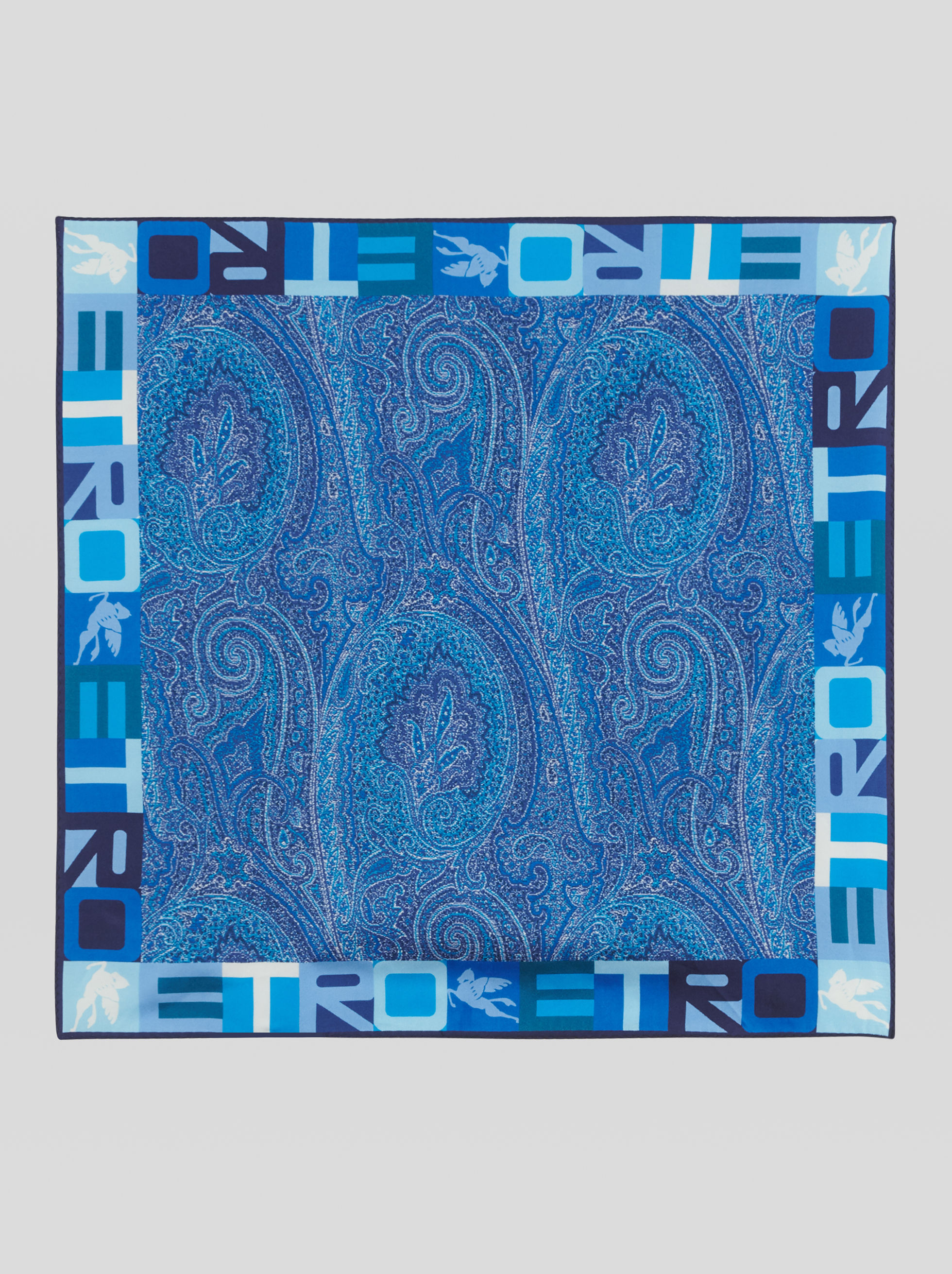 PAISLEY POCKET SQUARE WITH LOGO