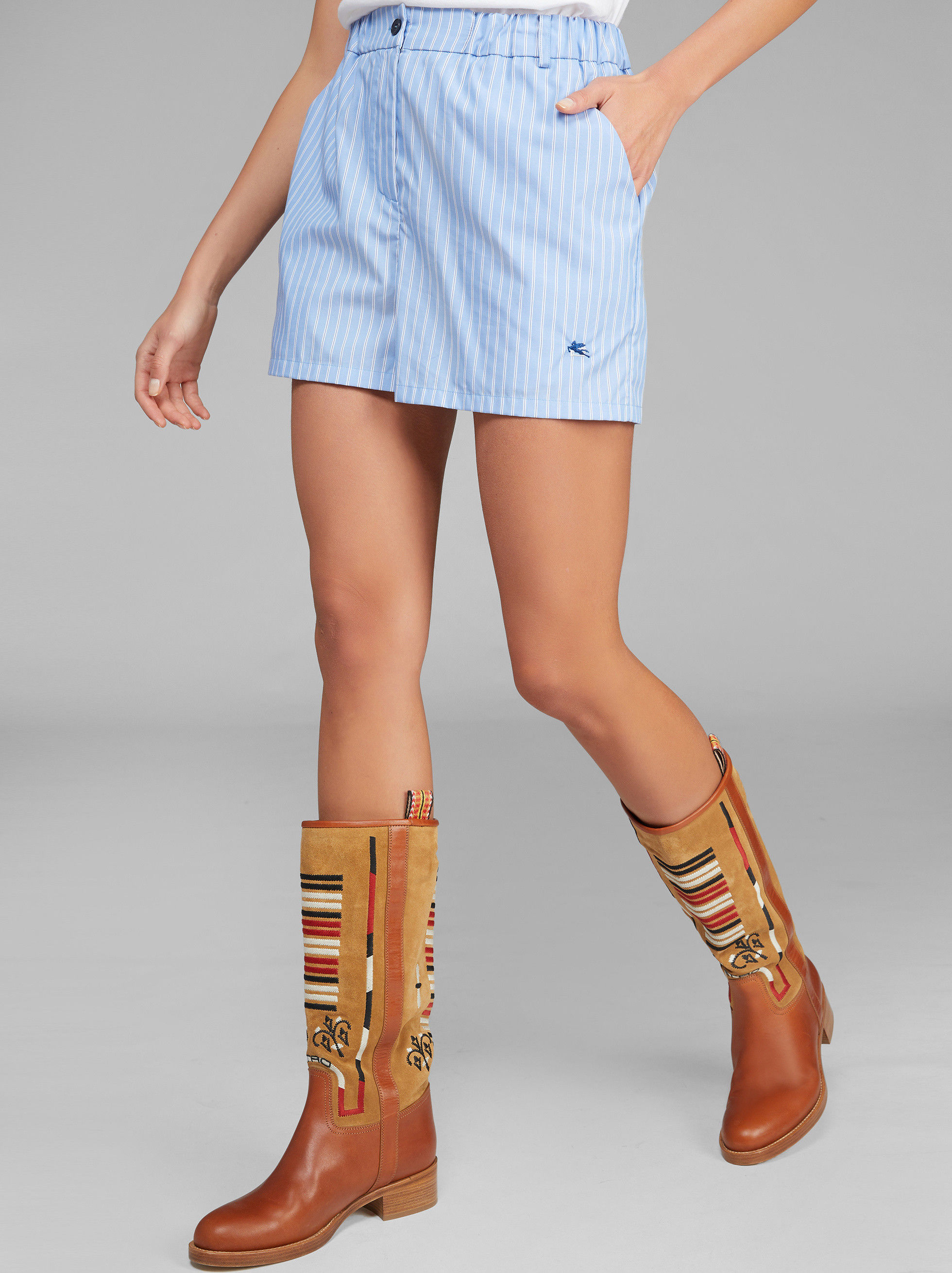 STRIPED SHORTS WITH EMBROIDERED PEGASO