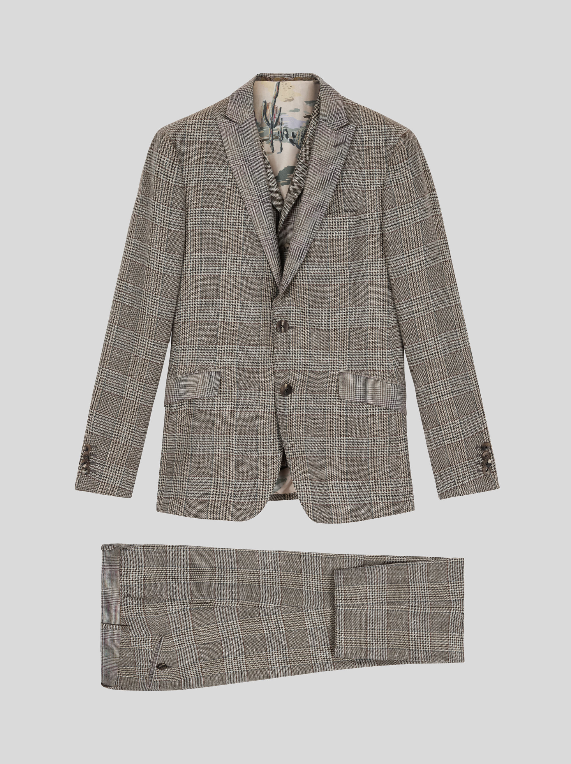 TAILORED CHECK THREE-PIECE SUIT