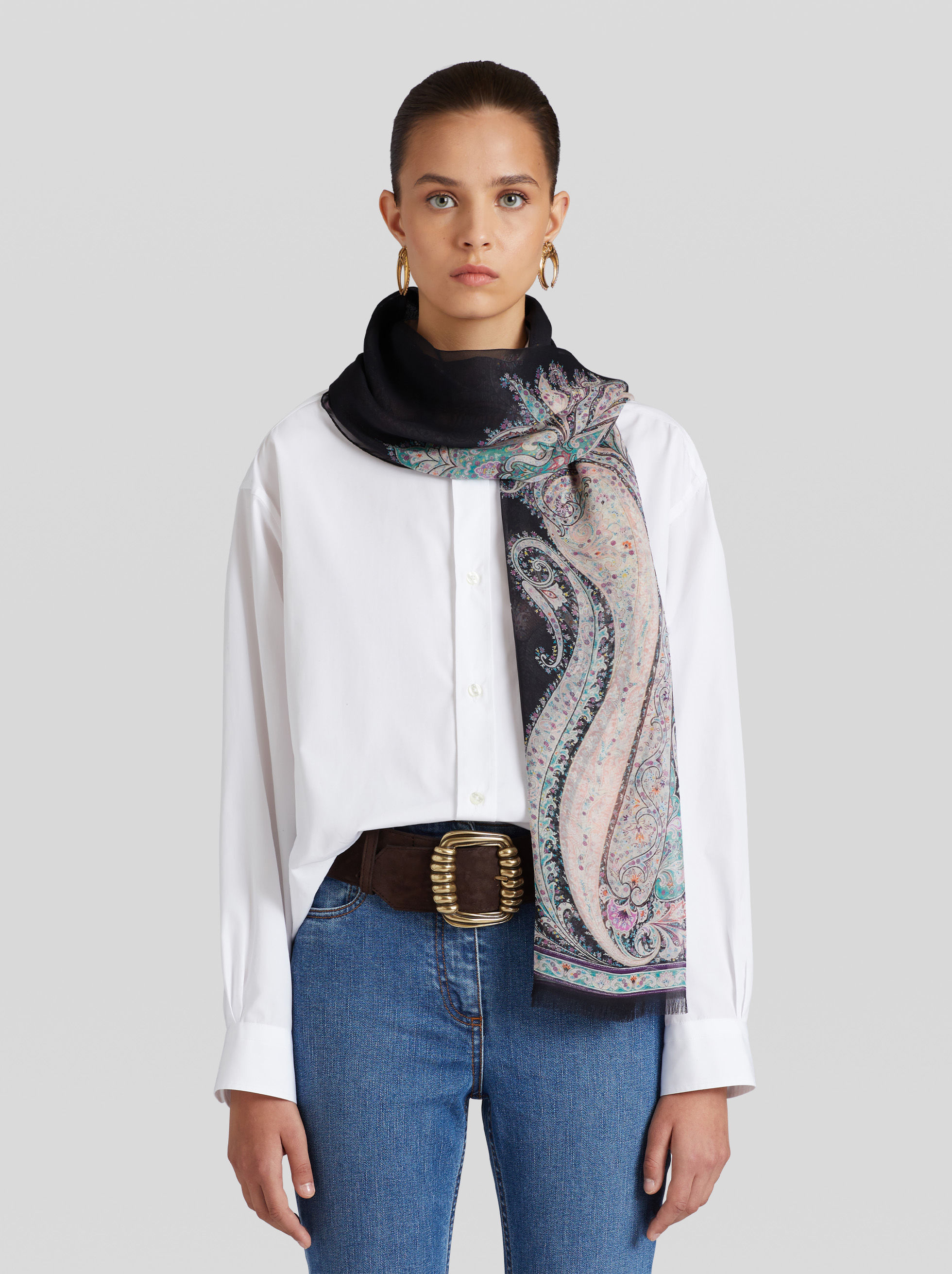 SILK FLORAL PAISLEY PRINT SCARF