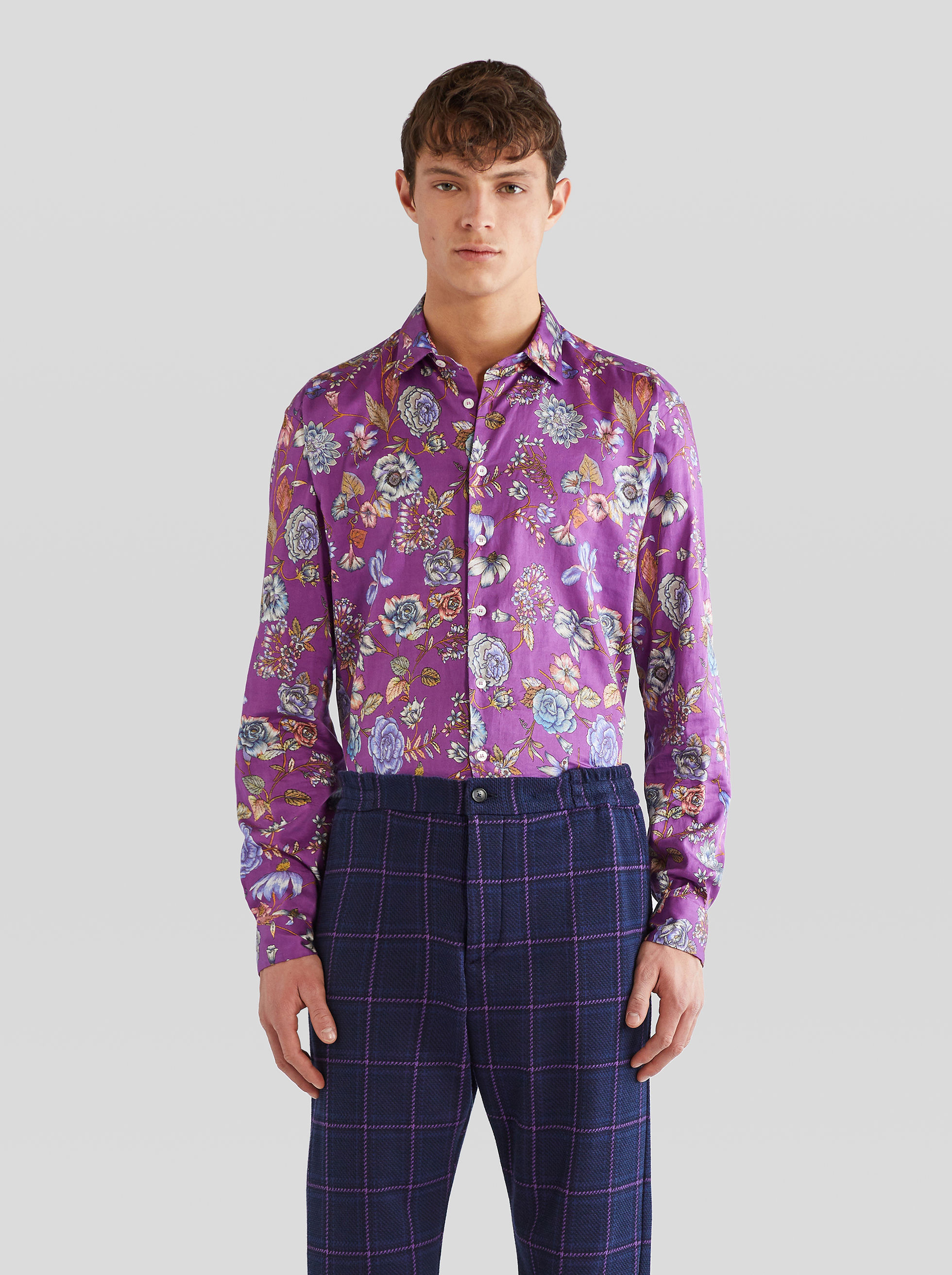 FLOWER-PRINT COTTON SHIRT