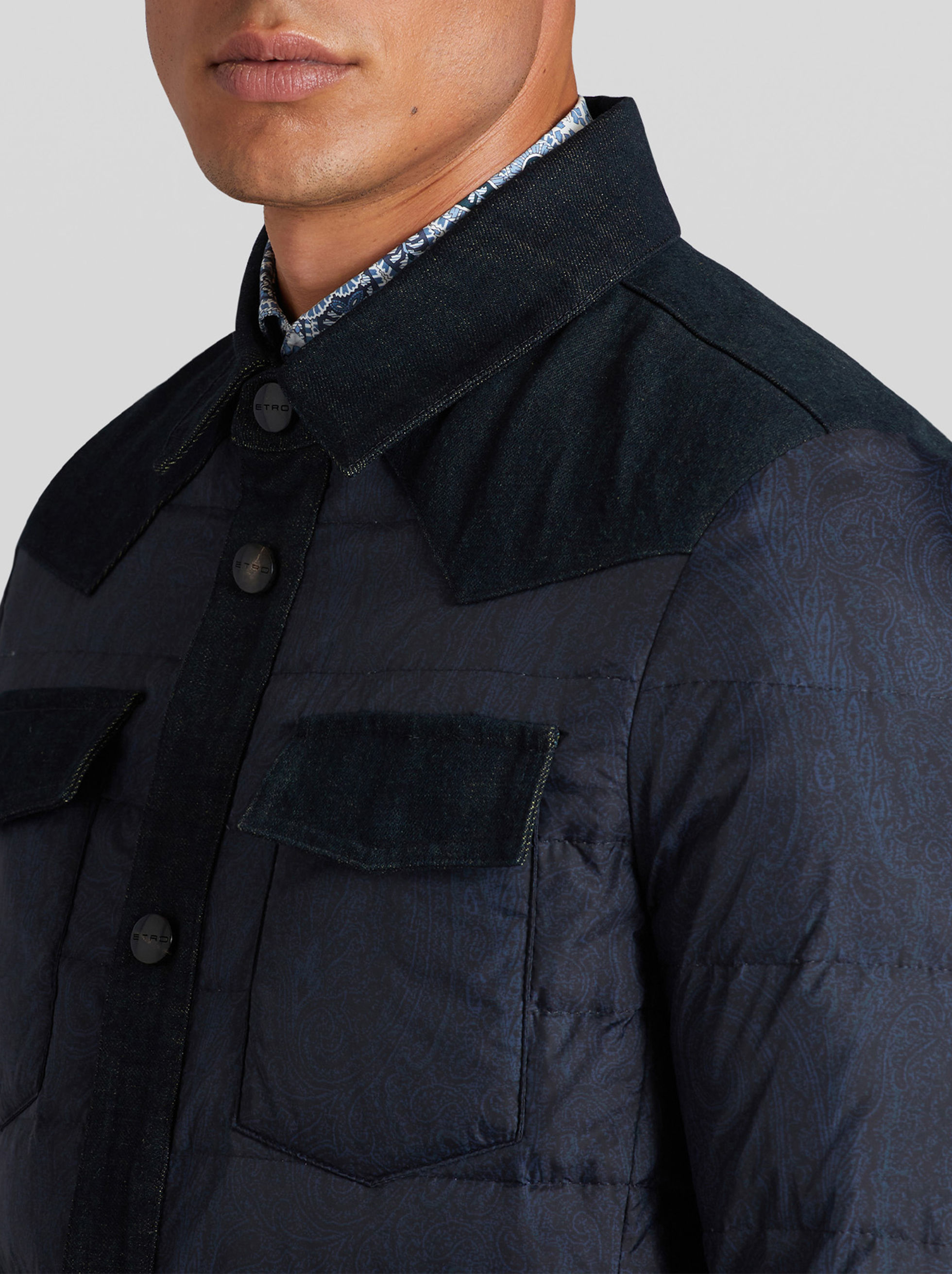 PAISLEY DOWN JACKET WITH DENIM DETAILS