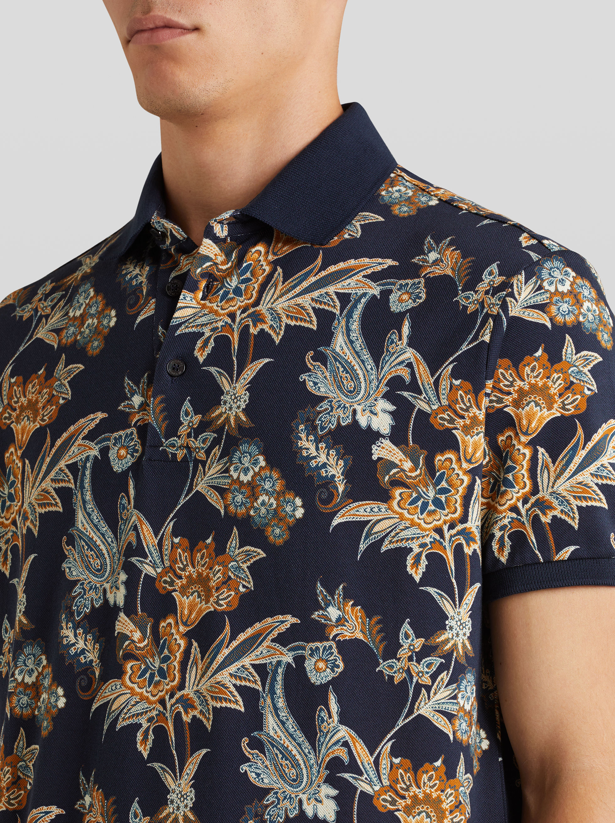 FLORAL PRINT COTTON POLO SHIRT