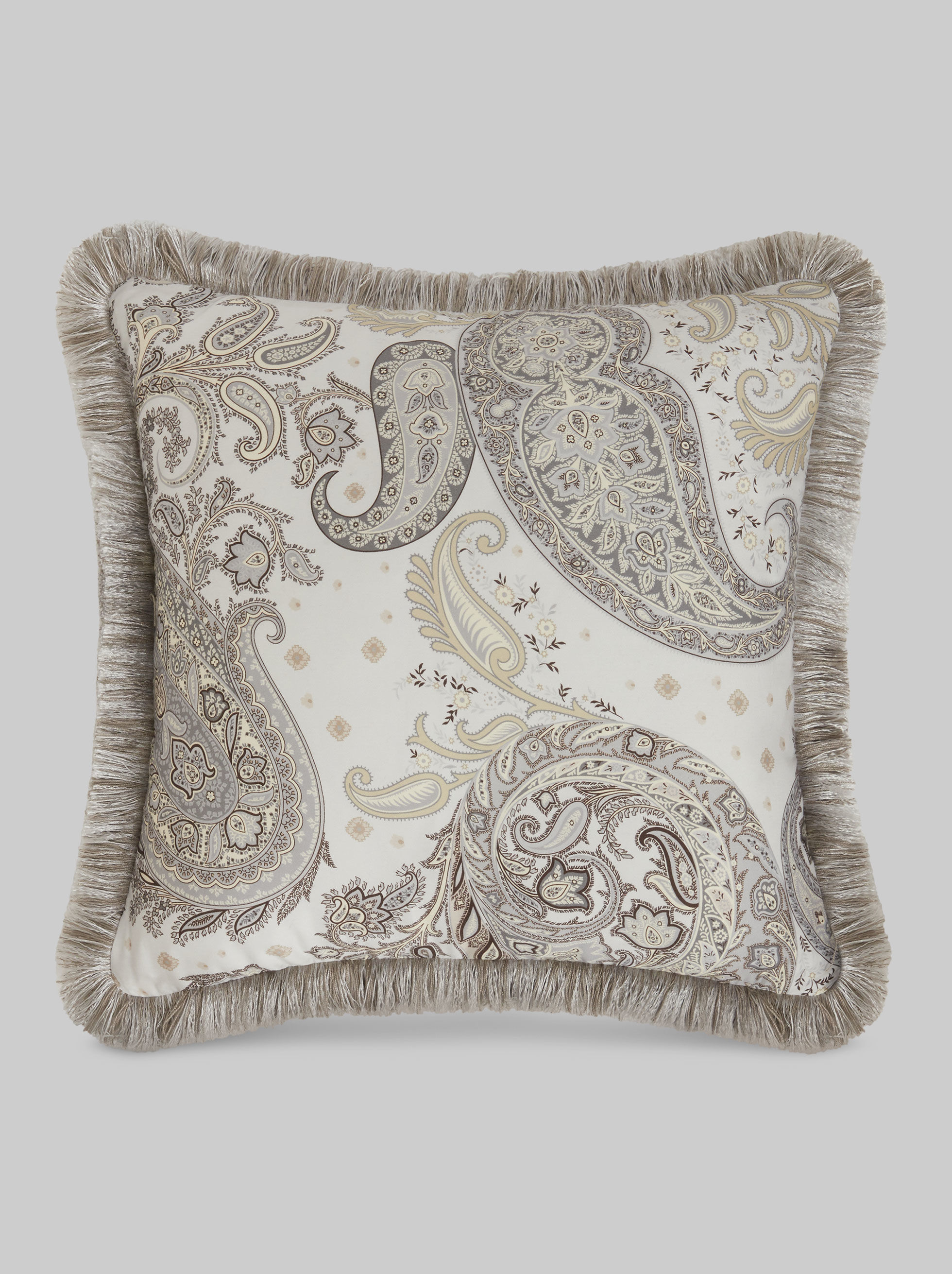 FRINGED PAISLEY SATIN CUSHION
