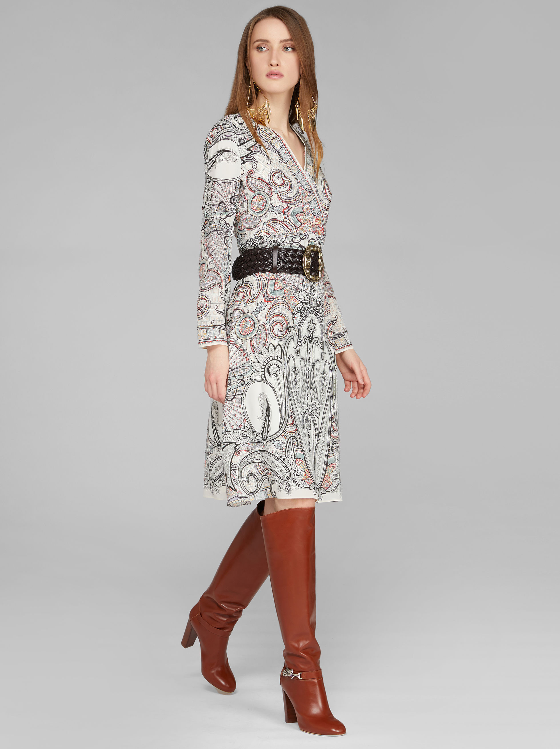 PAISLEY PRINT WRAP DRESS
